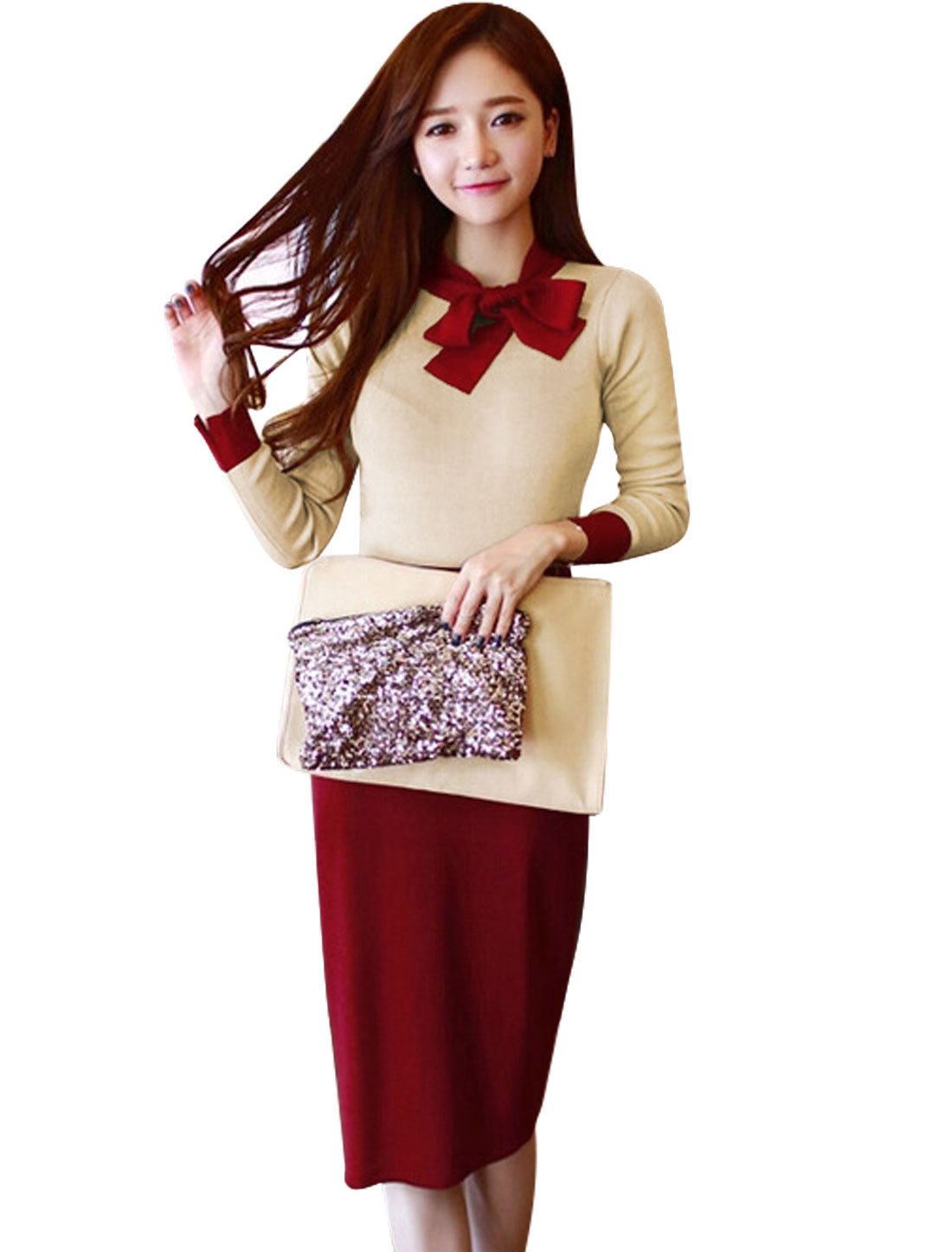 Women Tie Bow Neck Knit Top w Elastic Waist Knit Skirt Sets Burgundy Beige XS