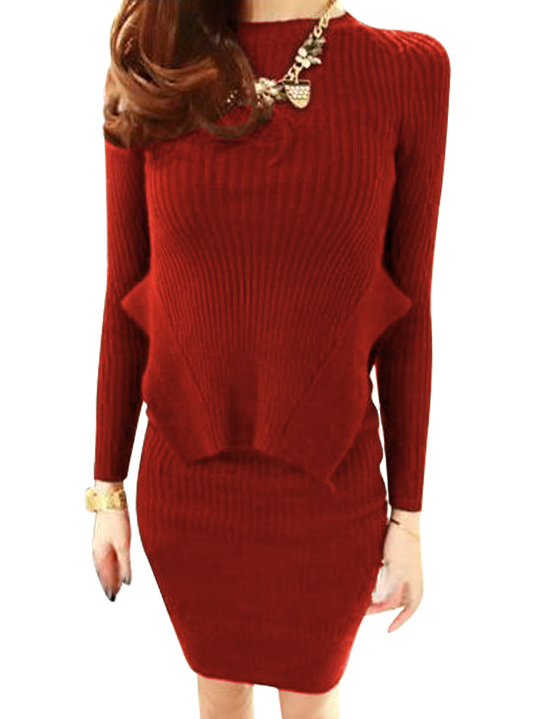 Women Round Neck Knitted Top w Stretchy Waist Knitted Skirts Sets Burgundy L