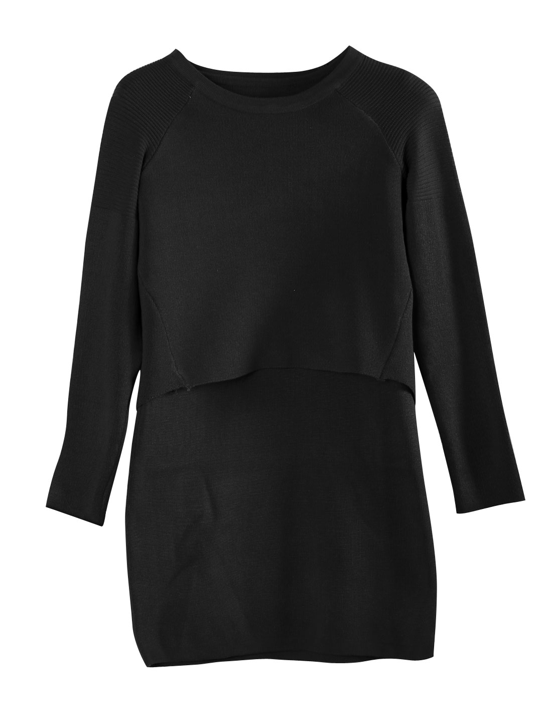 Round Neck Knitted Tops w Sleeveless Black Dress for Women Black S