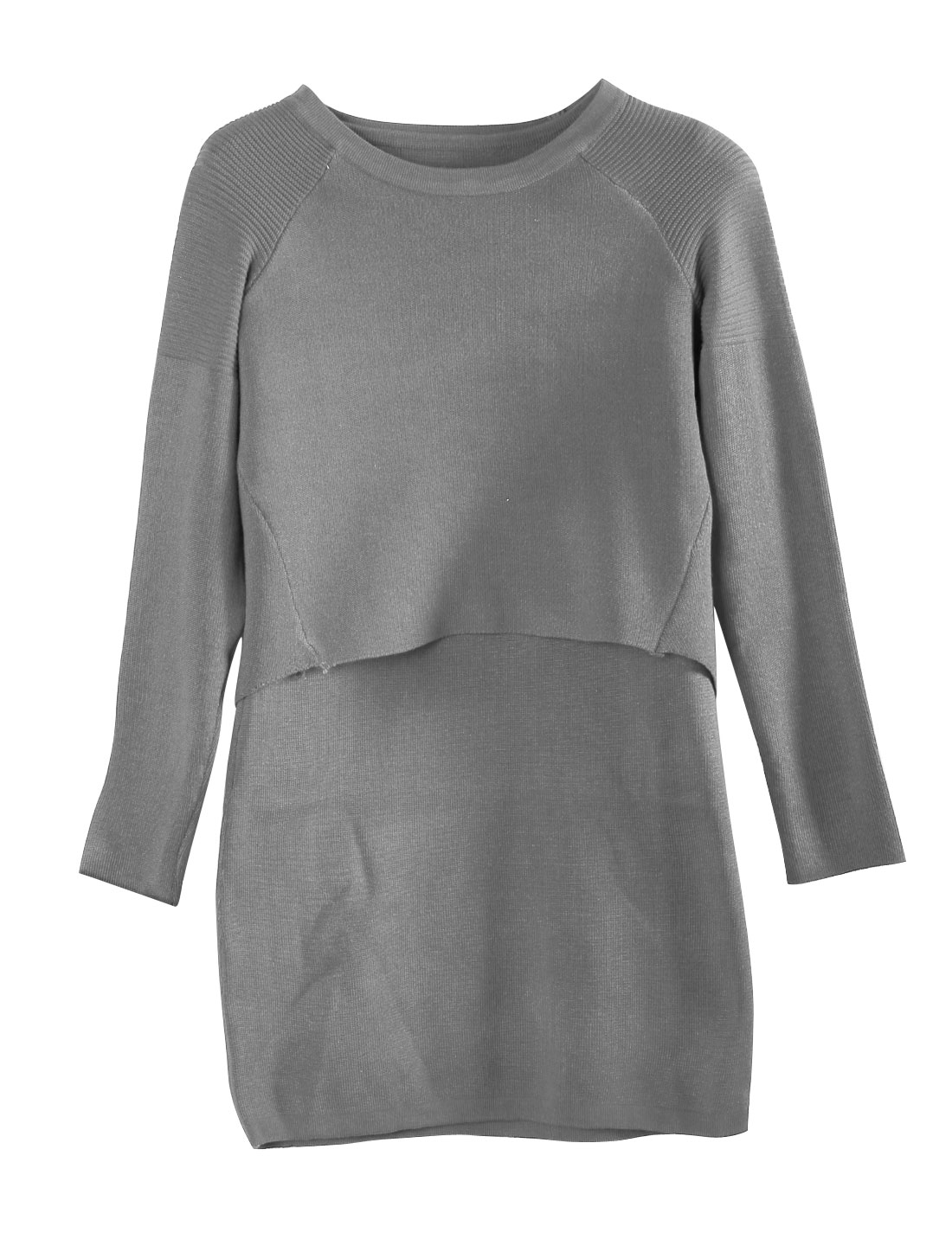 Ladies Round Neck Knit Tops w Sleeveless Sexy Dresses Gray S