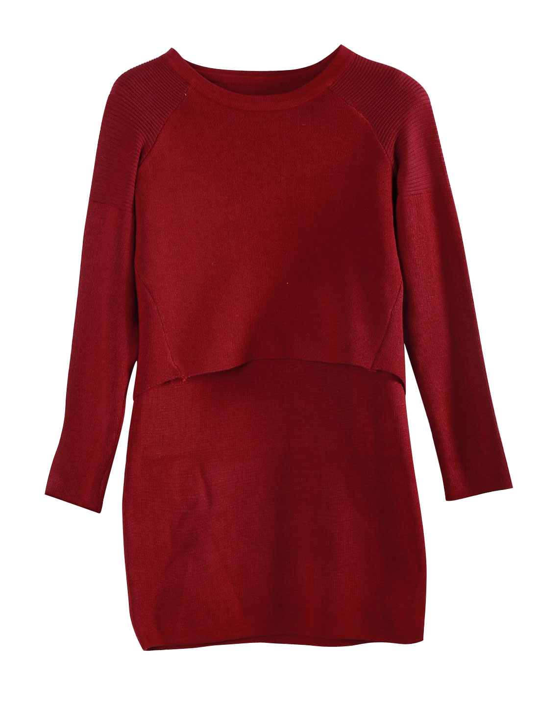 Women Round Neck knit Top w Sleeveless Knit Sheath Dress Burgundy S