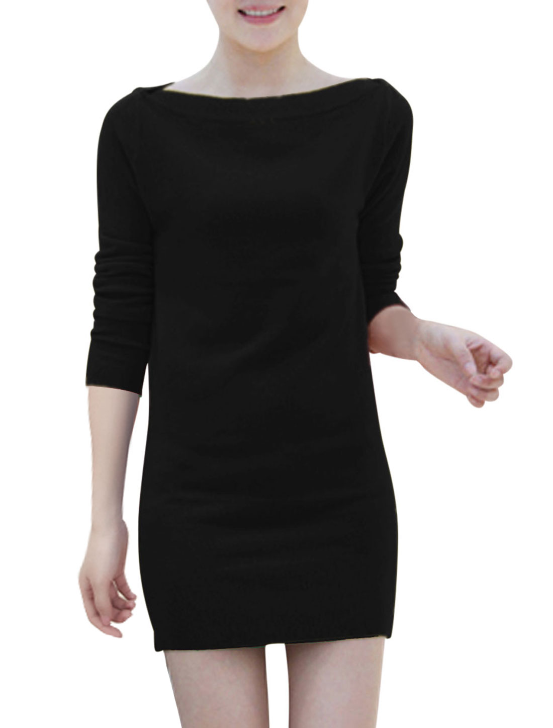 Boat Neck Two Ways Wearing Casual Knit Sheath Dress for Women Black S