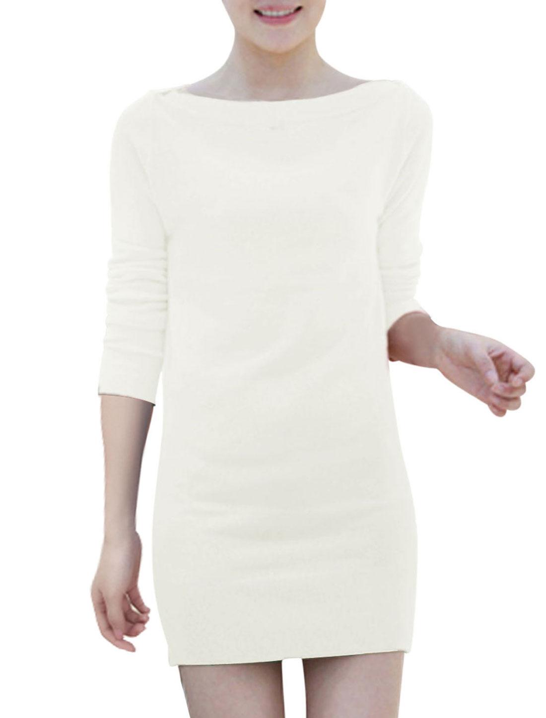 Long Sleeves Two Ways Wearing Trendy Knit Sheath Dress for Women White S