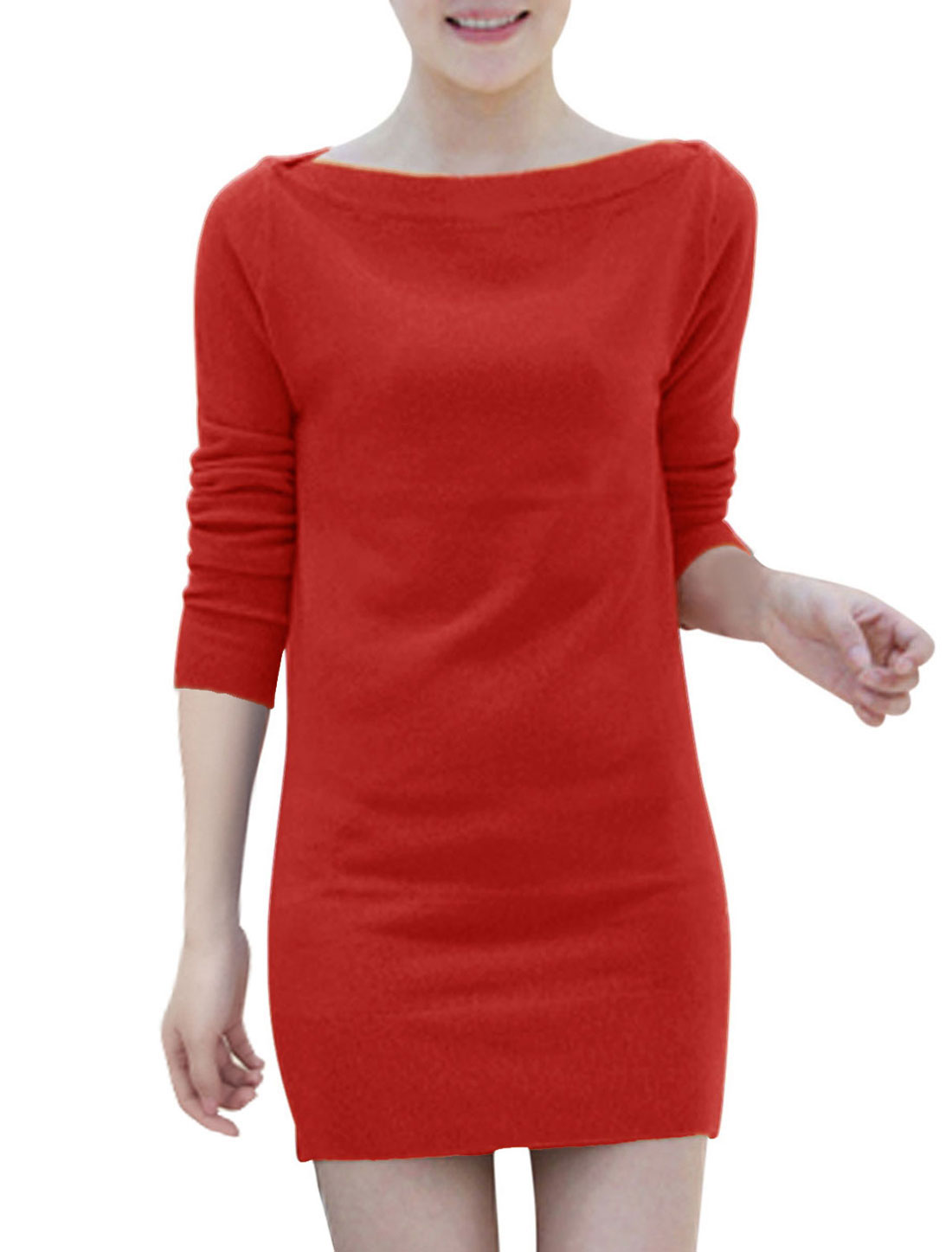 Two Ways Wearing Long Sleeves Stylish Knit Sheath Dress for Women Red S