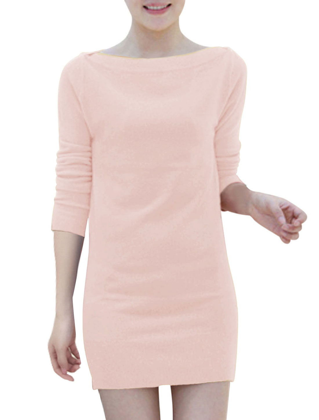 Ladies Off Shoulder Two Ways Wearing NEW Knit Sheath Dress Pale Pink S