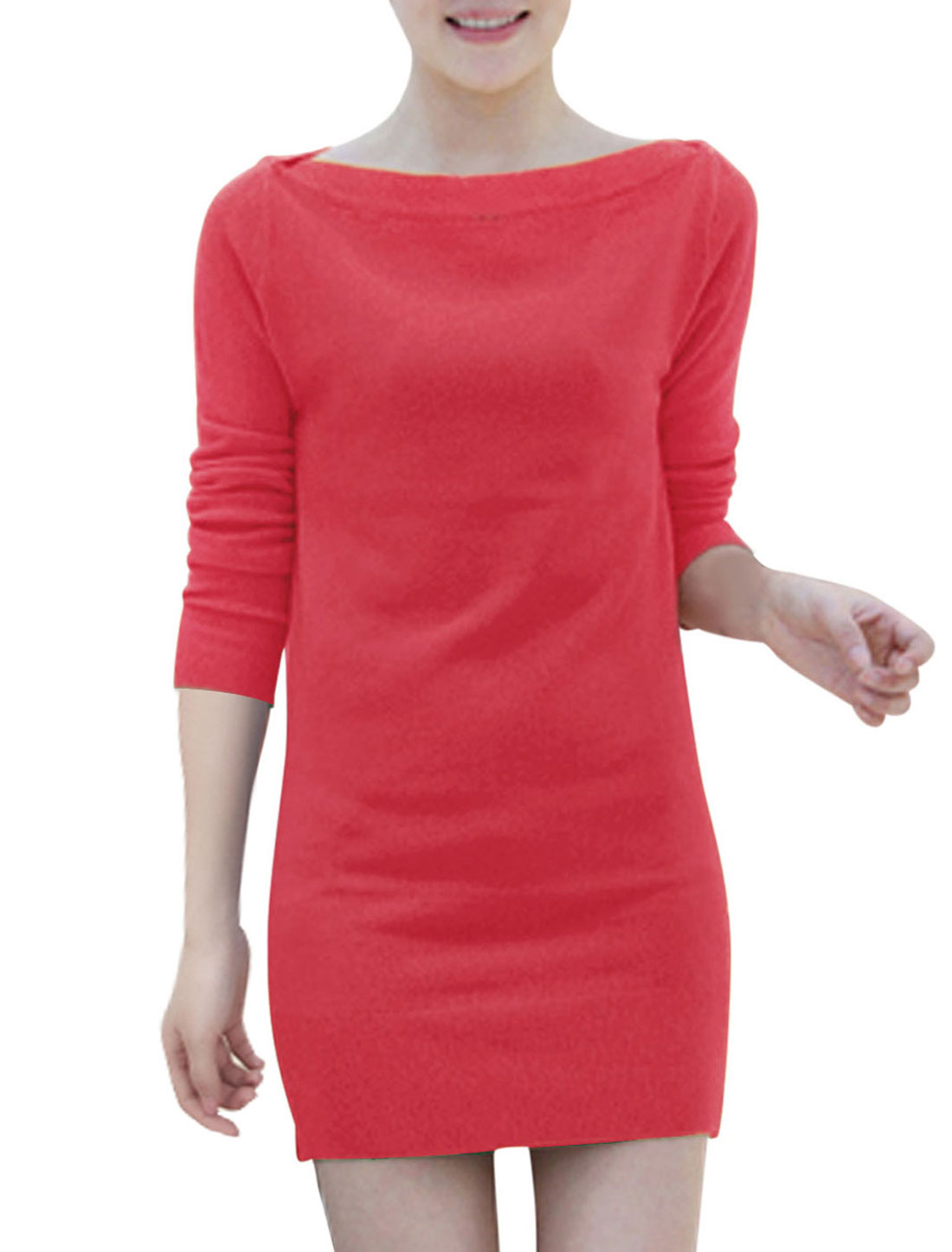 Ladies Long Sleeves Two Ways Wearing Fashion Knitted Dress Watermelon Red S