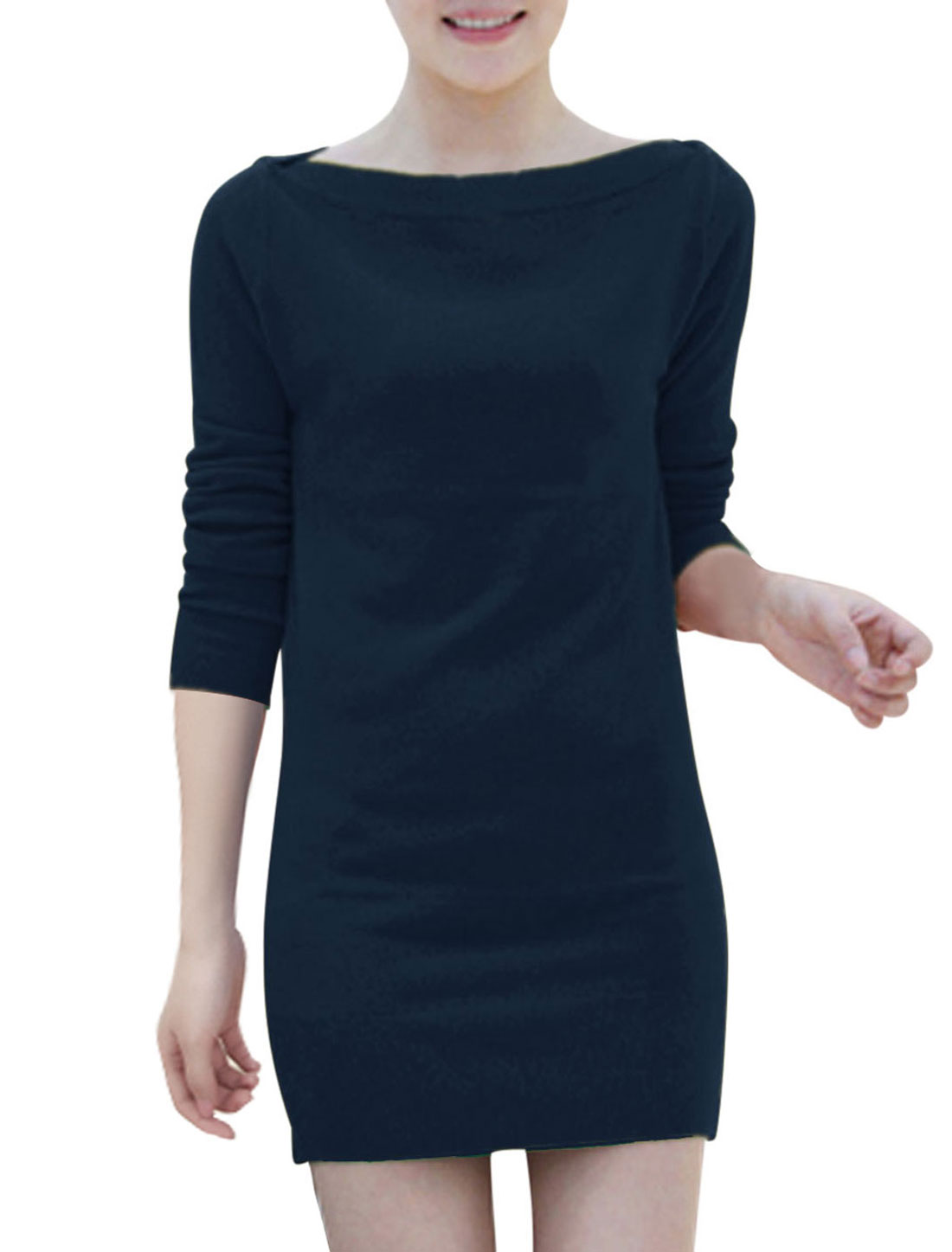 Two Ways Wearing Long Sleeves Sexy Dresses for Laides Navy Blue S