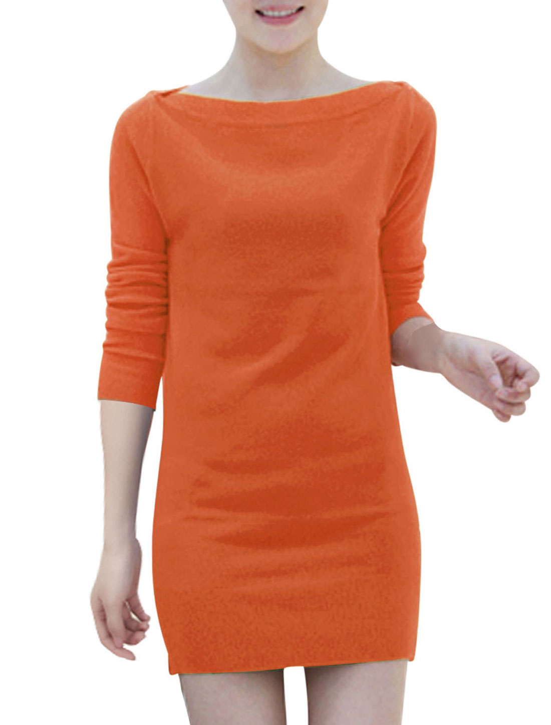 Boat Neck Two Ways Wearing NEW Elegant Dresses for Lady Orange S