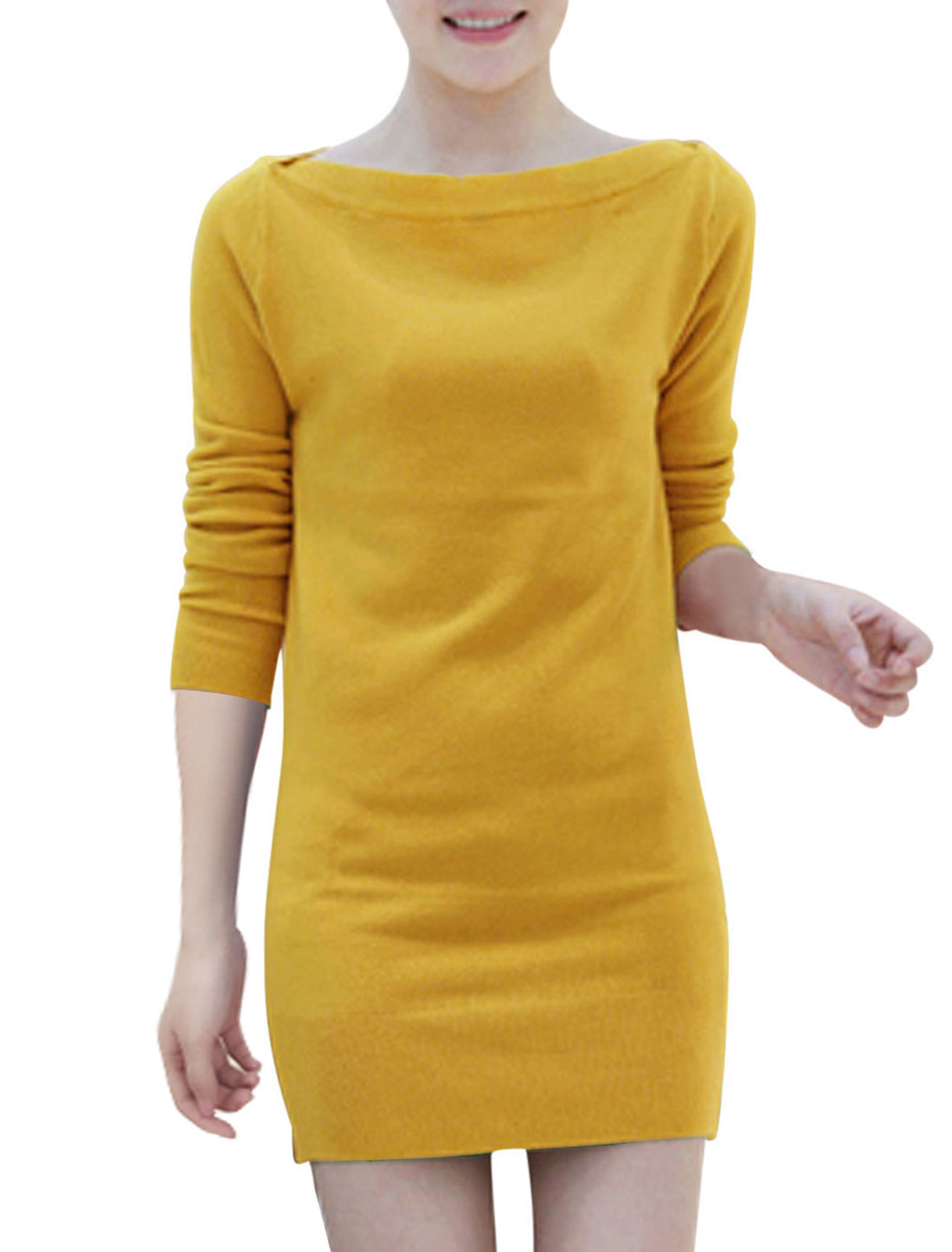 Women Two Ways Wearing Long Sleeves Elegant Dresses Ochre S
