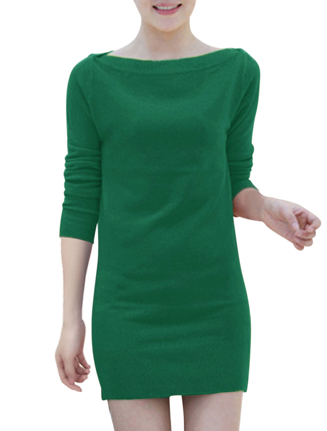 Women Boat Neck Long Sleeves Leisure Skinny Dresses Dark Green S