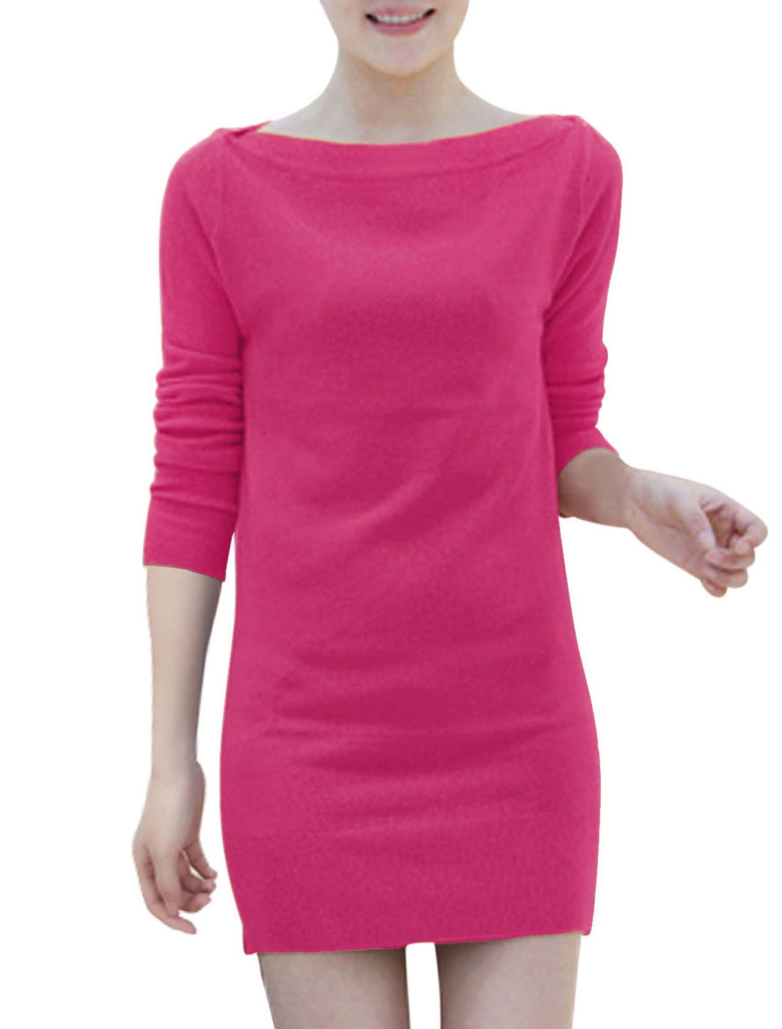 Lady Long Sleeves Boat Neck Casual Stretchy Dresses Fuchsia S