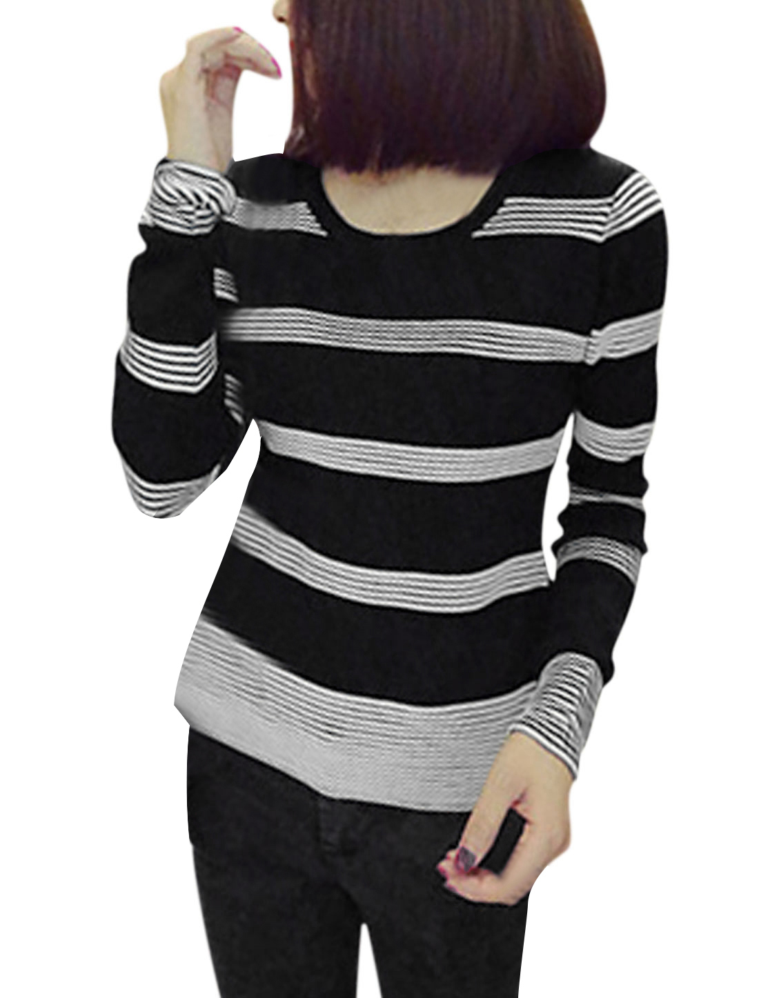 Round Neck Horizontal Stripes Casual Knit Shirt for Women Black XS