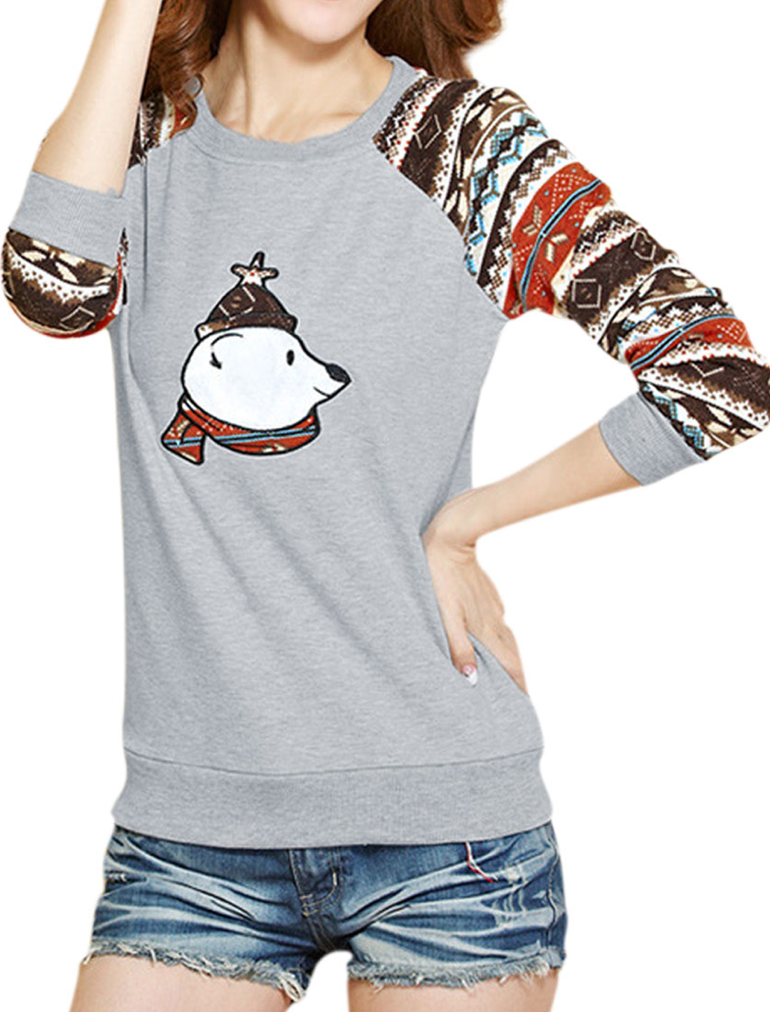 Stripes Round Neck Slipover Casual Knitted Top for Women Burgundy XS