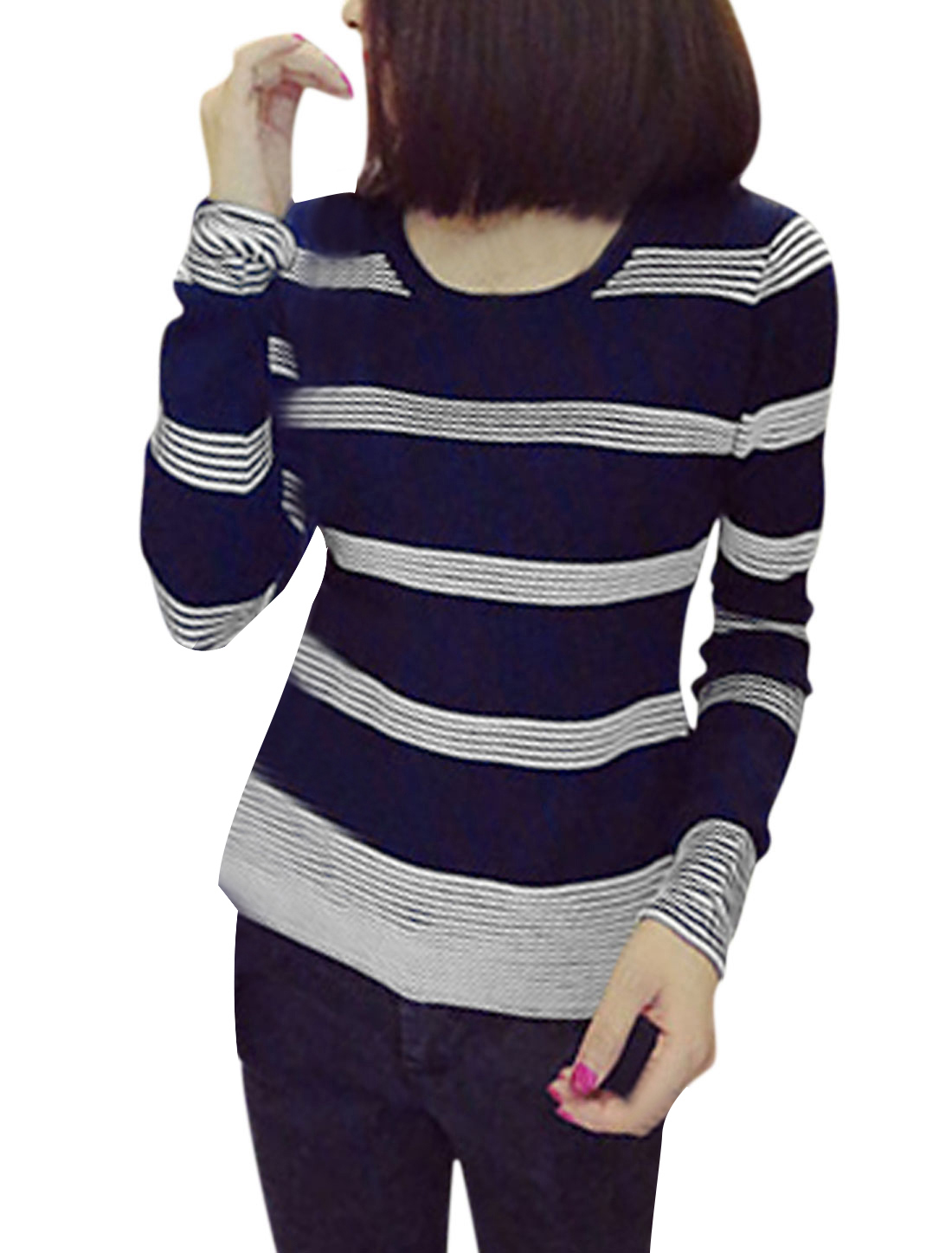 Round Neckline Stripes Casaul Knit Top for Women Navy Blue XS