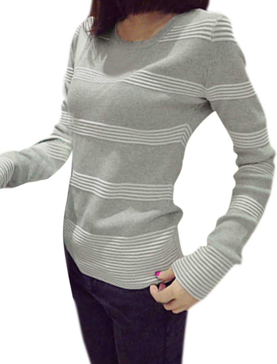 Ladies Long Sleeves Horizontal Stripes Knitted Top Light Gray XS