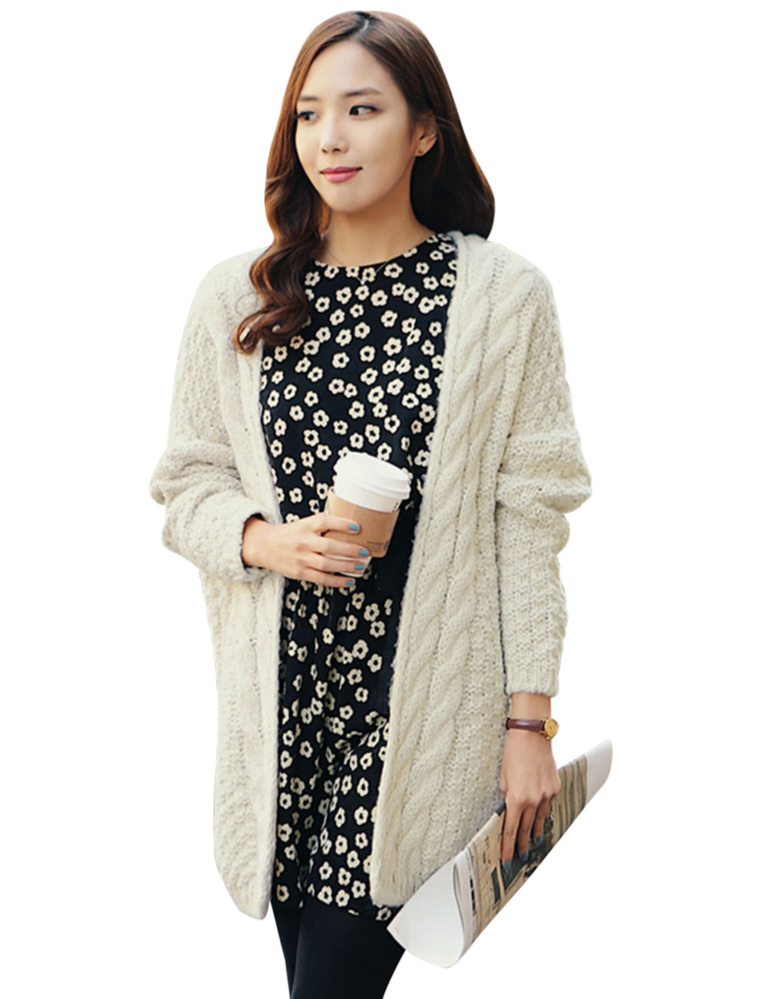 Women Long Batwing Sleeves Braided Detail Tunic Cardigan Beige S