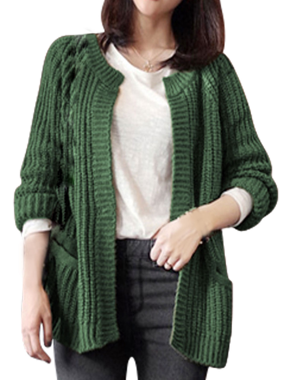 Women Long Sleeves Ont Button Round Neck Leisure Knit Cardigan Dark Green L