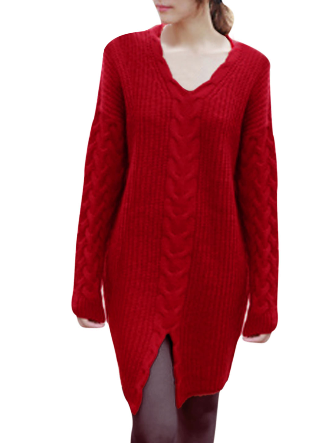Women V Neck Batwing Sleeves Pullover Casual Tunic Sweater Red M