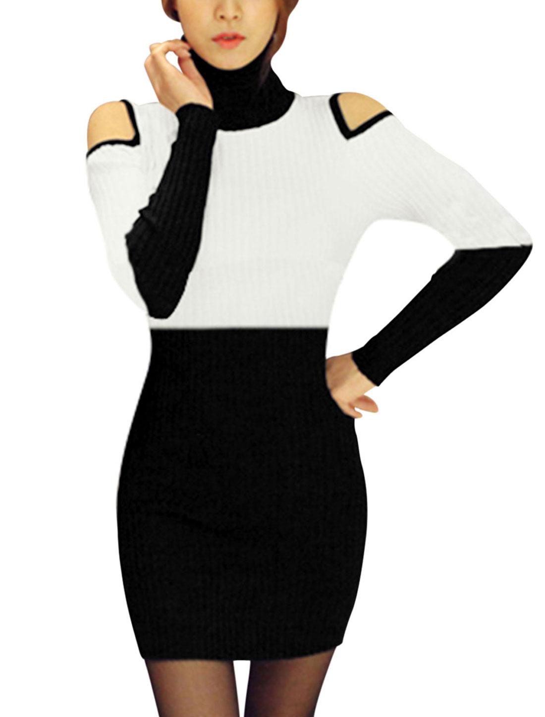 Women Turtle Neck Cut Out Shoulder Color Block Sweater Dress Black White S