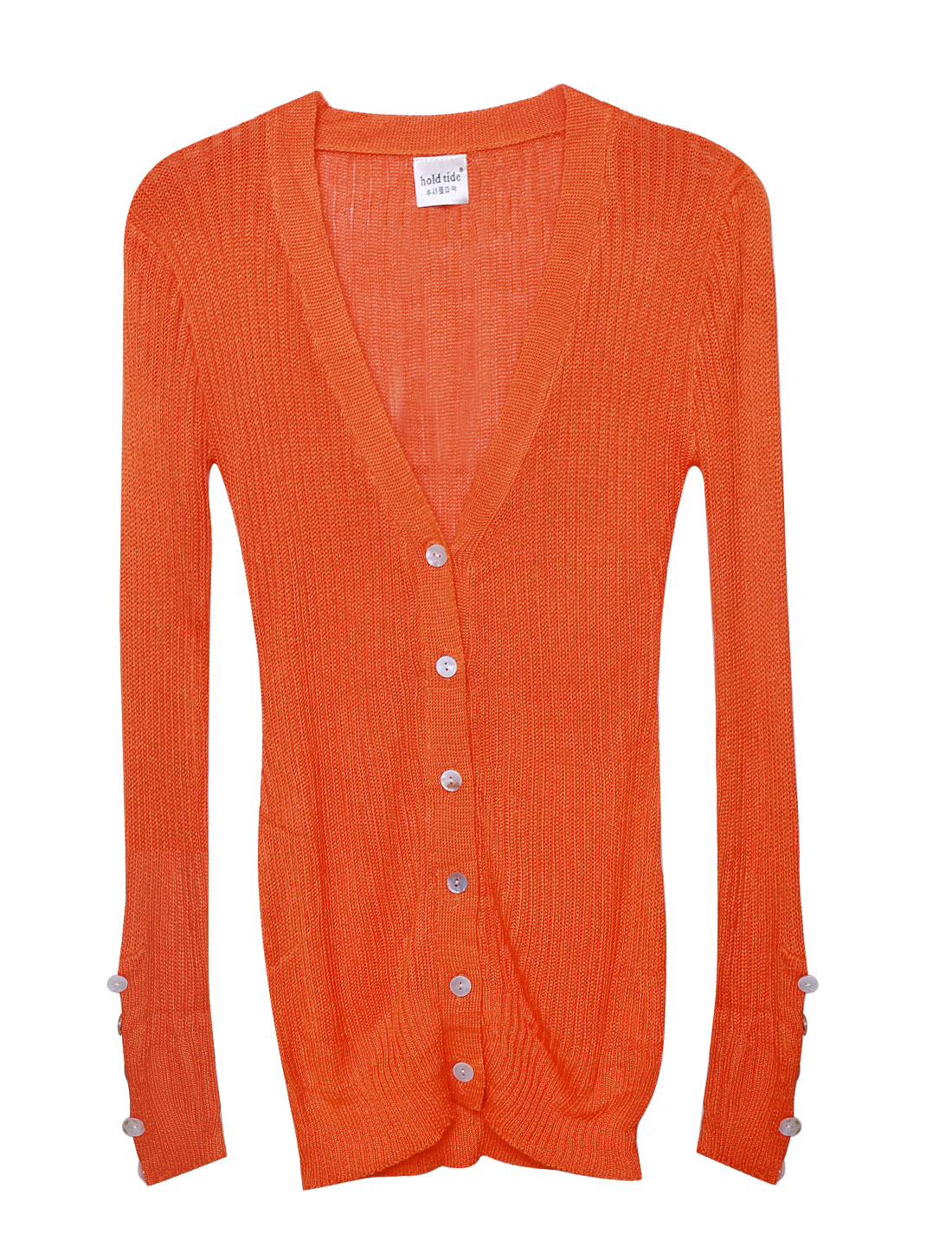 Ladies Orange Single Breasted Deep V Neck Leisure Cardigan M