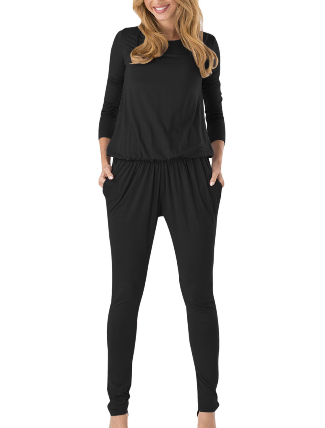 Round Neck Elastic Waist Casual Jumpsuit for Women Black M