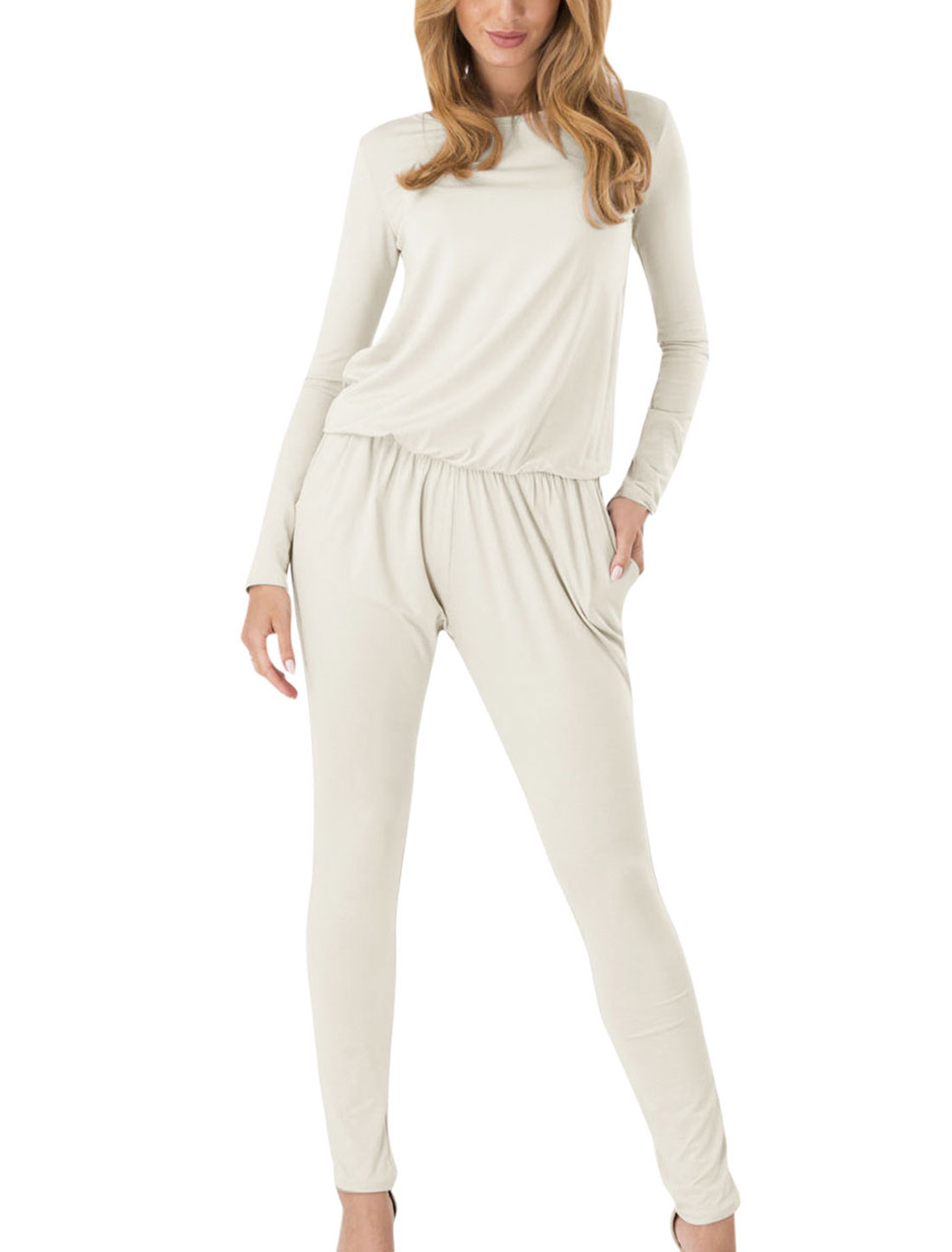 Long Sleeves Elastic Waist Casaul Jumpsuit for Women White M