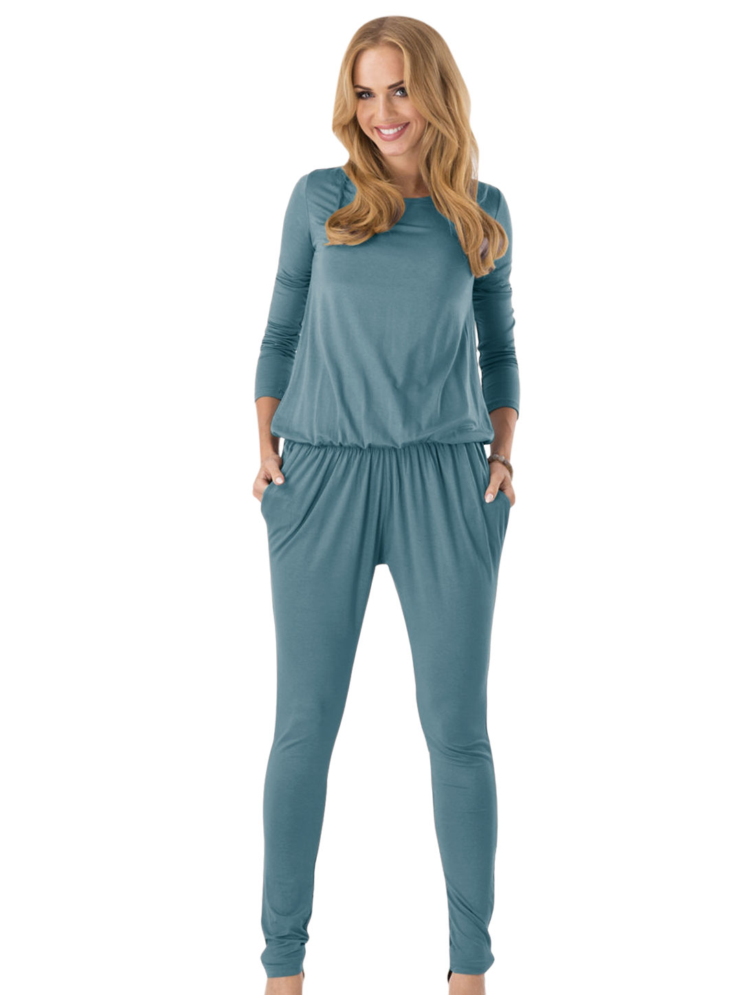 Double Pockets Front Round Neck Casual Jumpsuit for Women Steel Blue M
