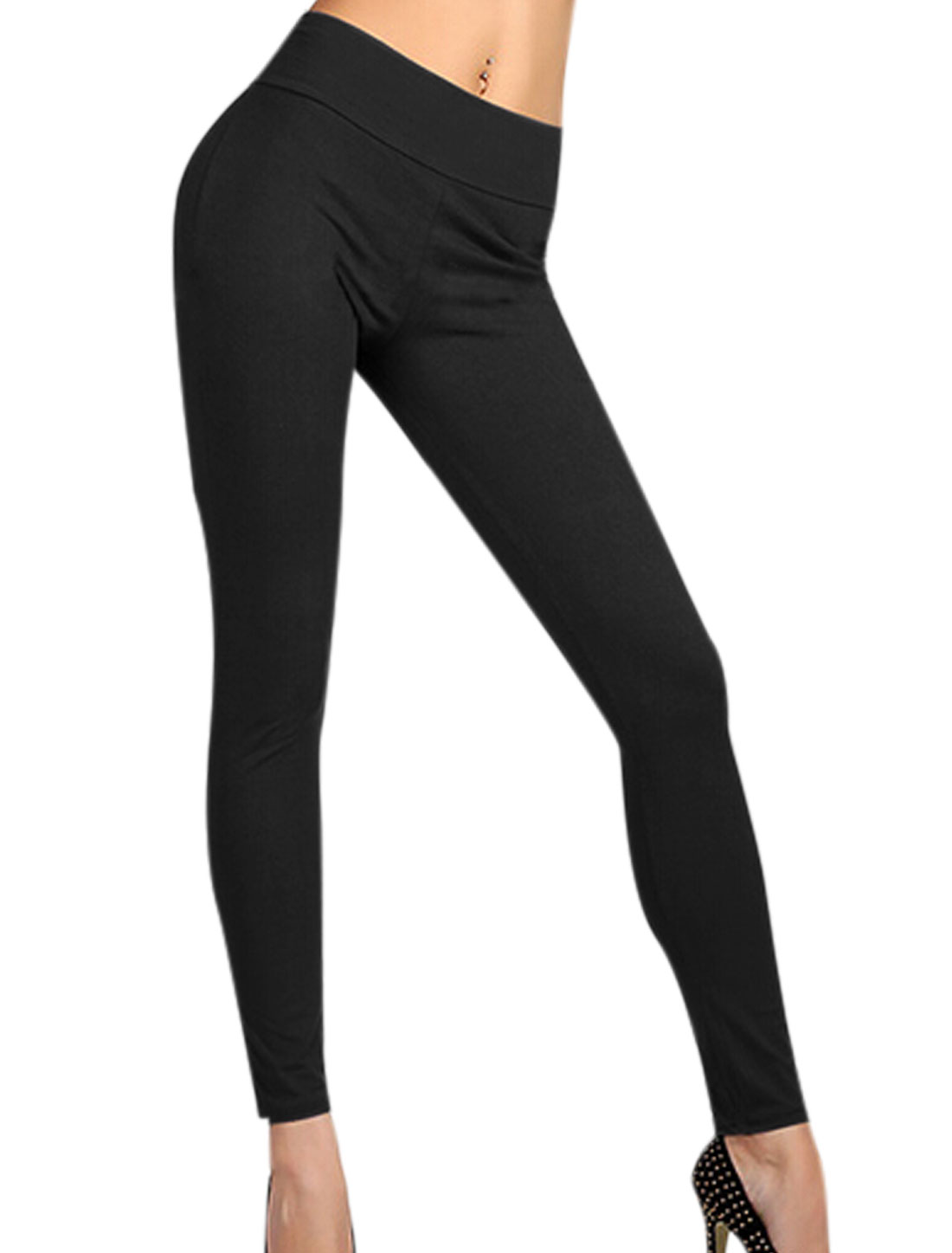 Natural Waist Zipper Back Casual Leggings for Women Black L