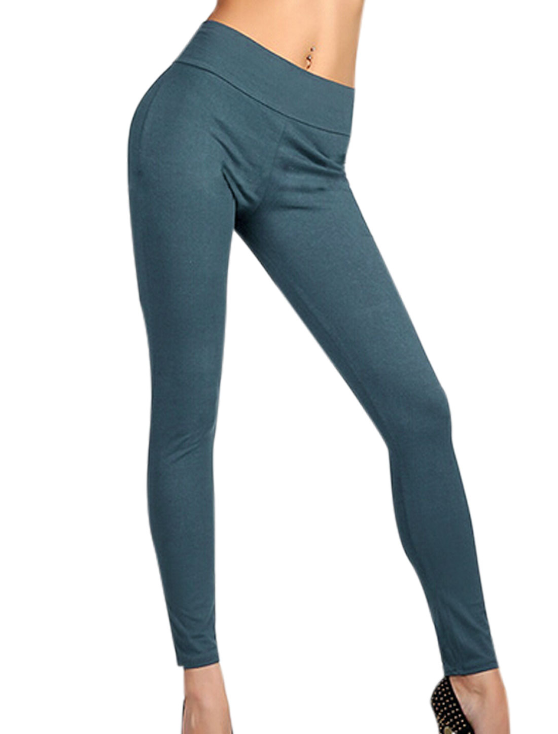 Stretchy Waist Zipper Back Casual Leggings for Women Steel Blue L
