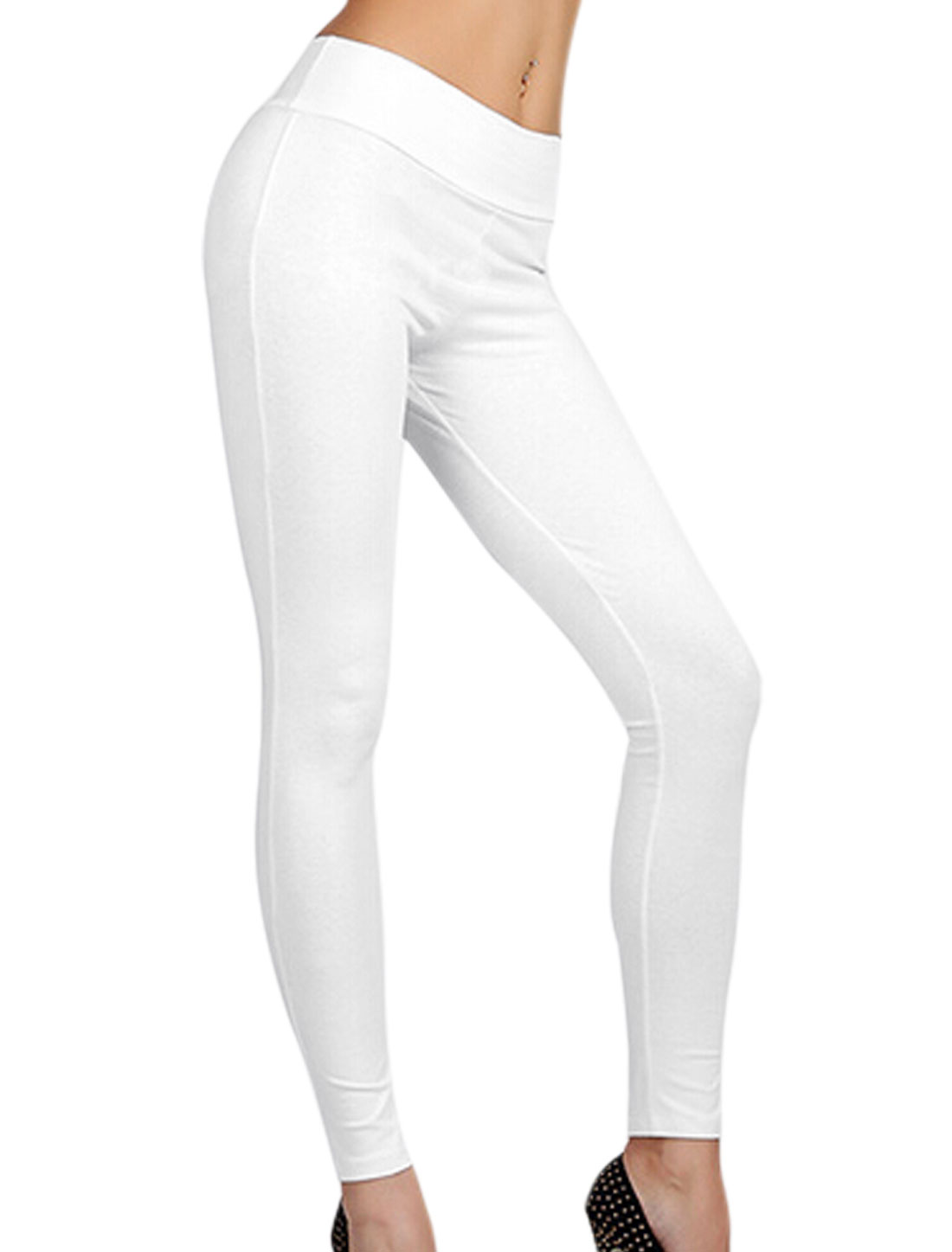Women Natural Waist Zip Up Back Casual Leggings White XL