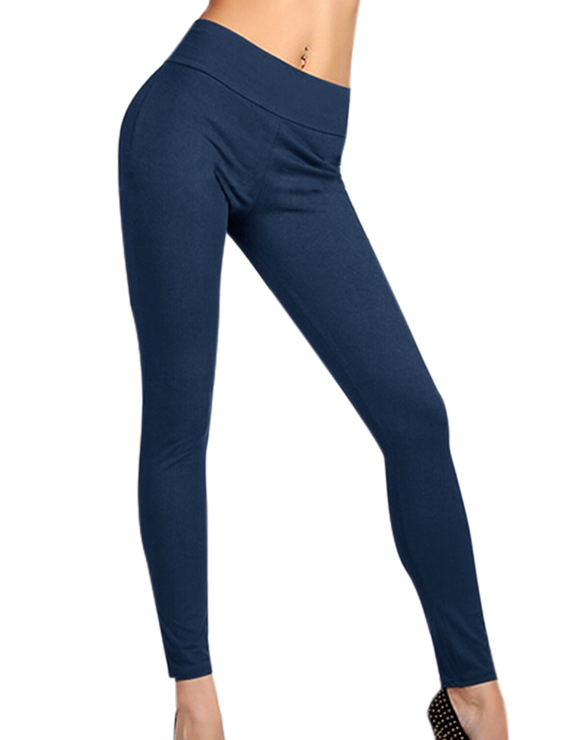 Laides Natual Waist Zipper Back Fashion Leggings Navy Blue XL