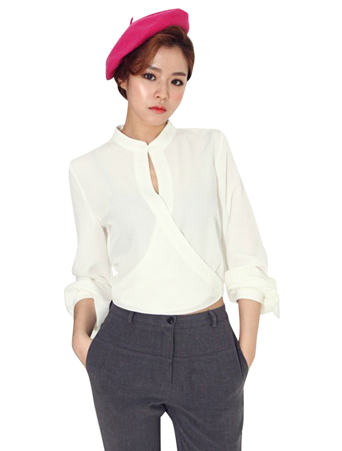 Ladies White Crossover Wrap Cut Out Front Button Cuffs Cropped Shirt L