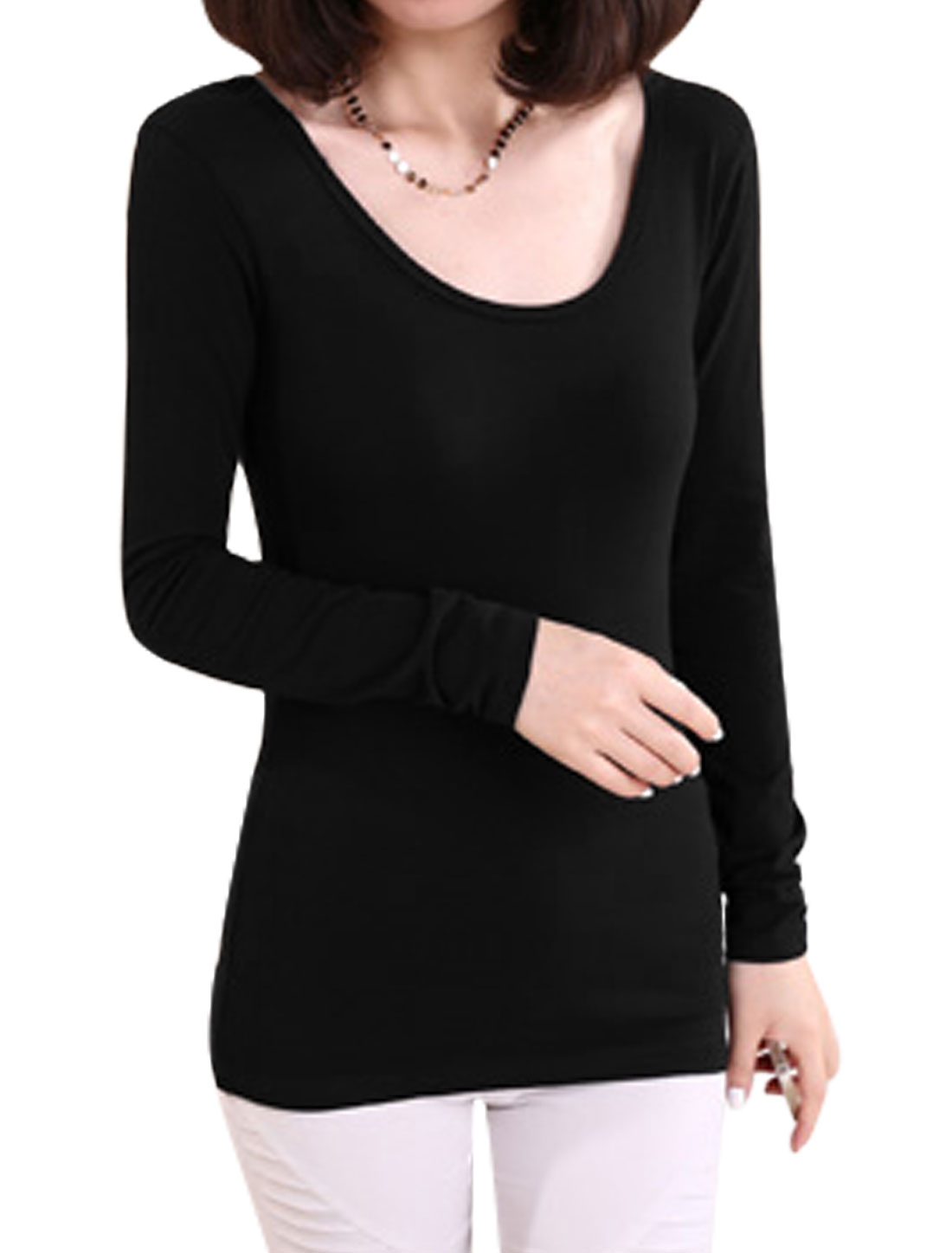 Ladies Black Slipover Lace Up Back Full Sleeves Leisure Top M