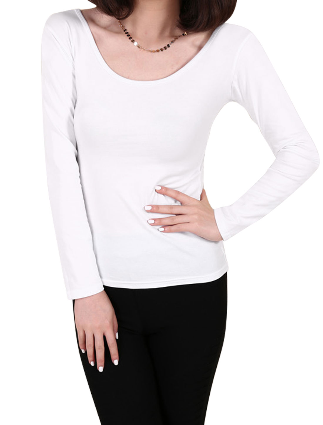 Ladies White Pullover Lace Up Back Long Sleeves Casaul Top M