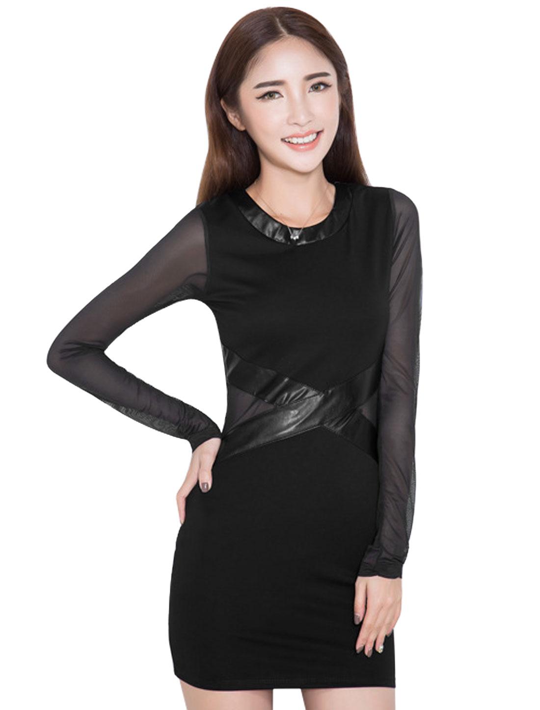 Ladies Black Pu Mesh Splice Long Sleeves Leisure Sheath Dress S