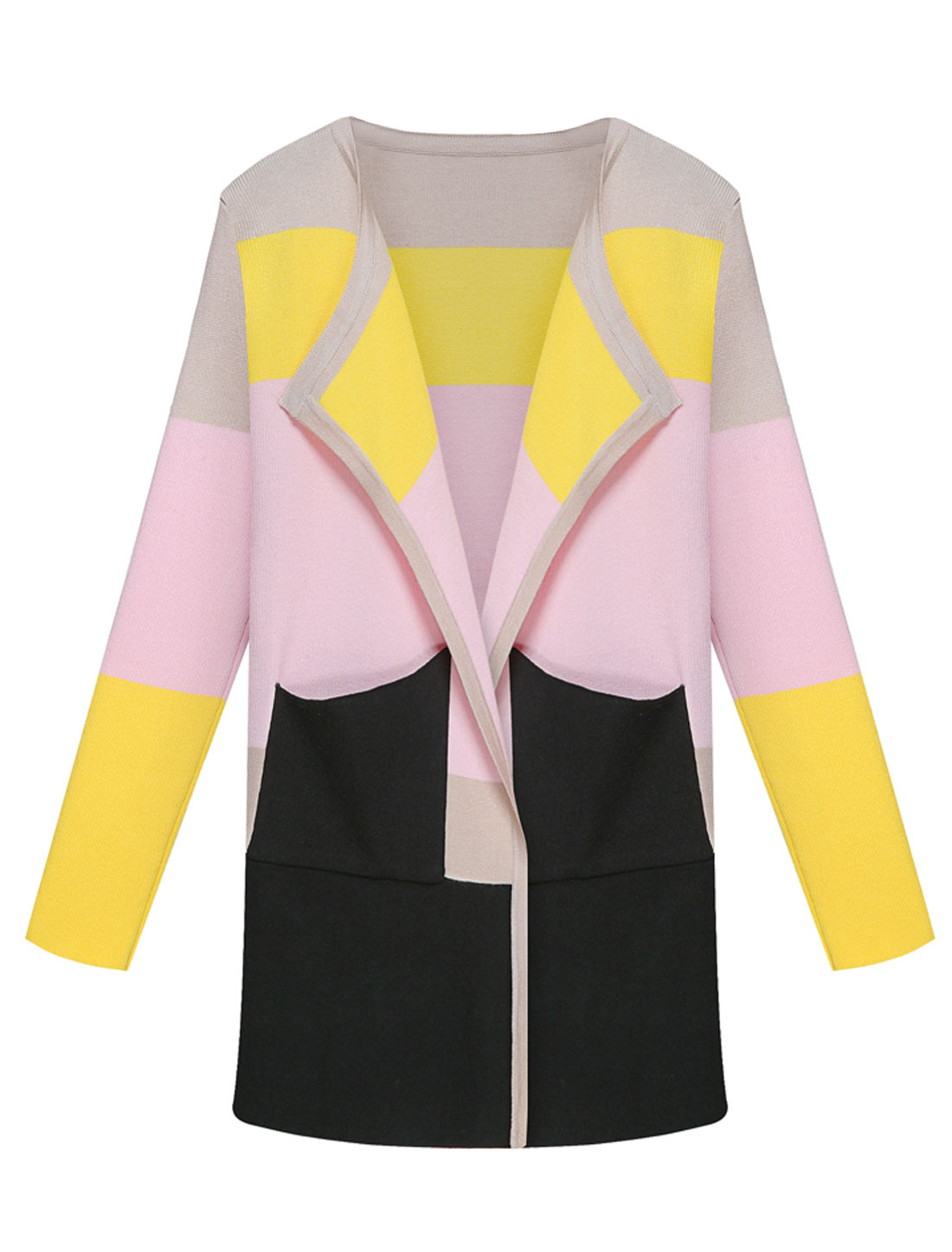 Women Long Sleeves Color Block Casual Knit Cardigan Black Beige S