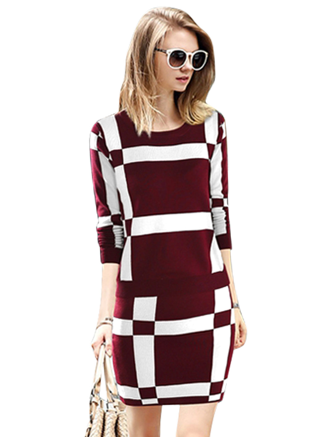 Women Checkered Pattern Knit Shirt w Elastic Waist Skirt Sets Burgundy White M