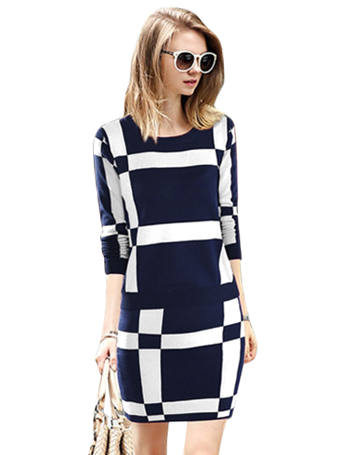 Woemn Checkered Pattern Knit Top w Sexy Skirt Sets Navy Blue White M