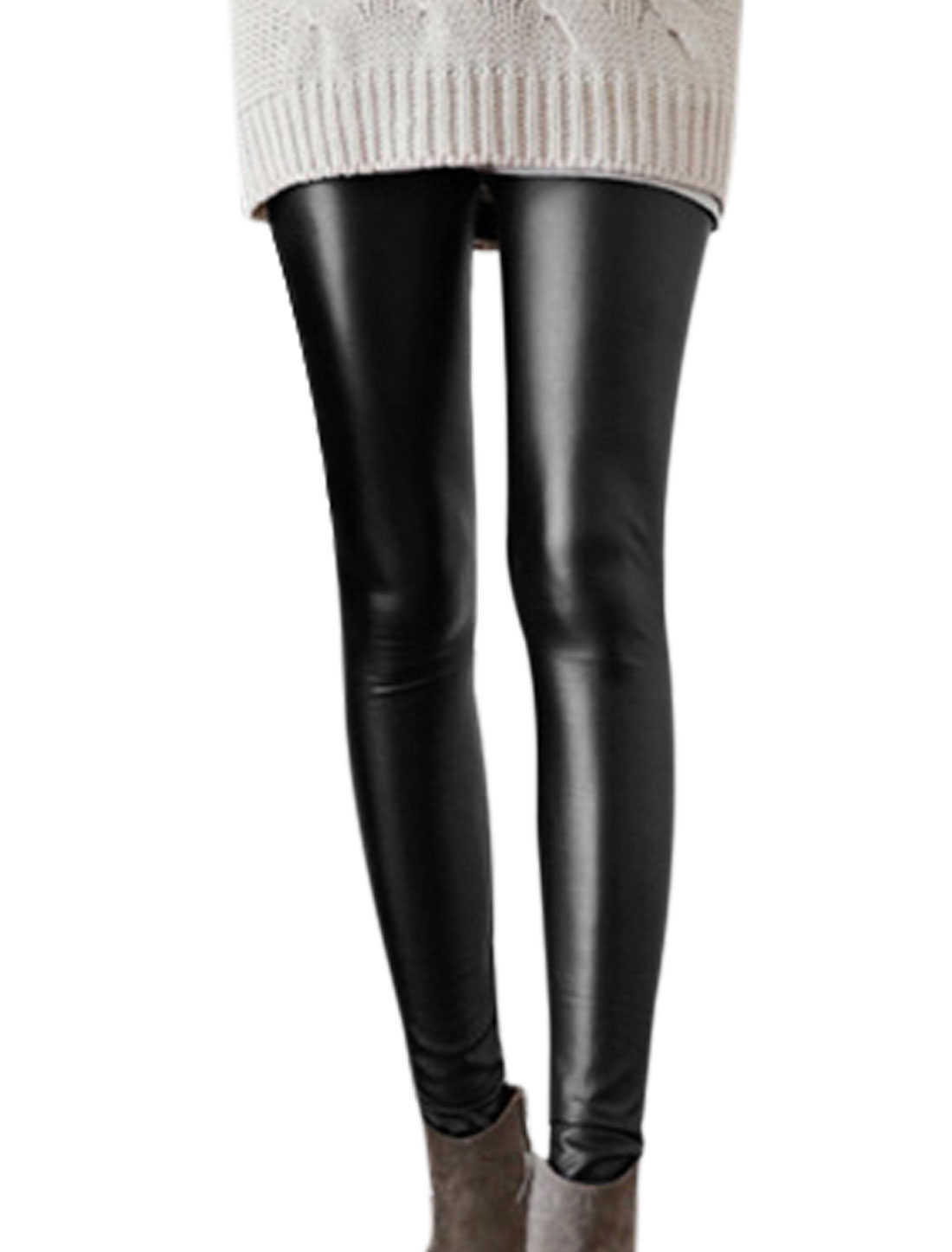 Ladies Black Mid Rise Elastic Waist Slim Fit Casaul PU Leggings XS