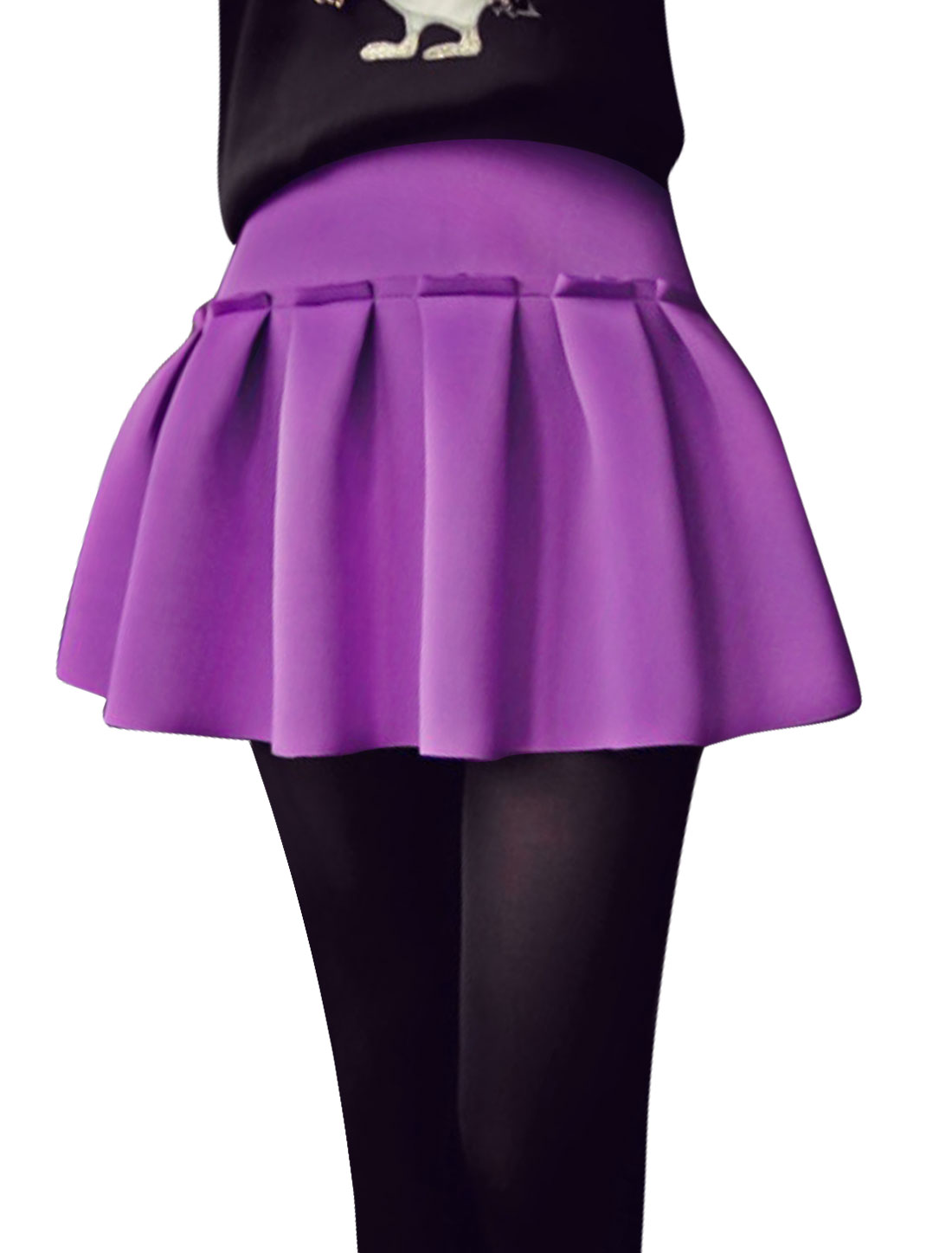 Ladies Violet High Waist Zip Closure Casaul Pleated Skirt M