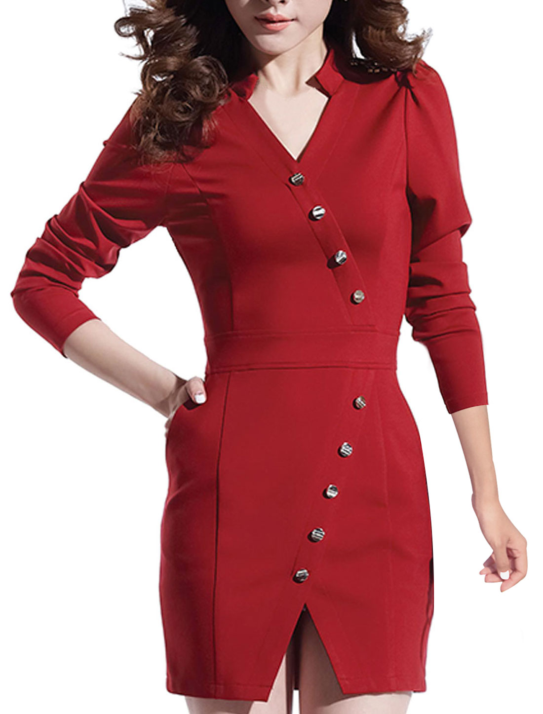 Women Long Sleeves Mandarin Collar Casual Trench Dress Red L