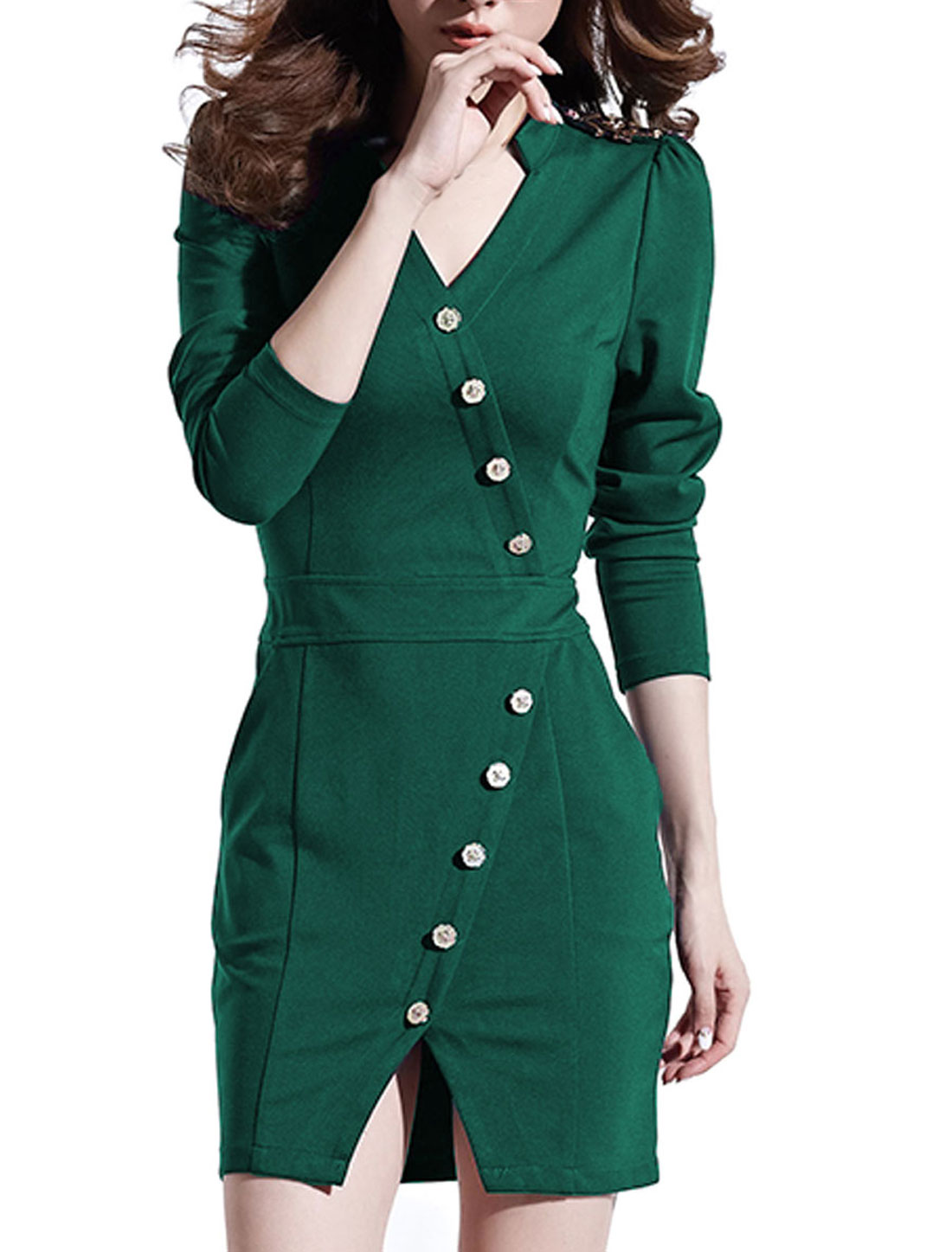 Women Long Sleeves Split Front Casual Sheath Dress Dusty Green L