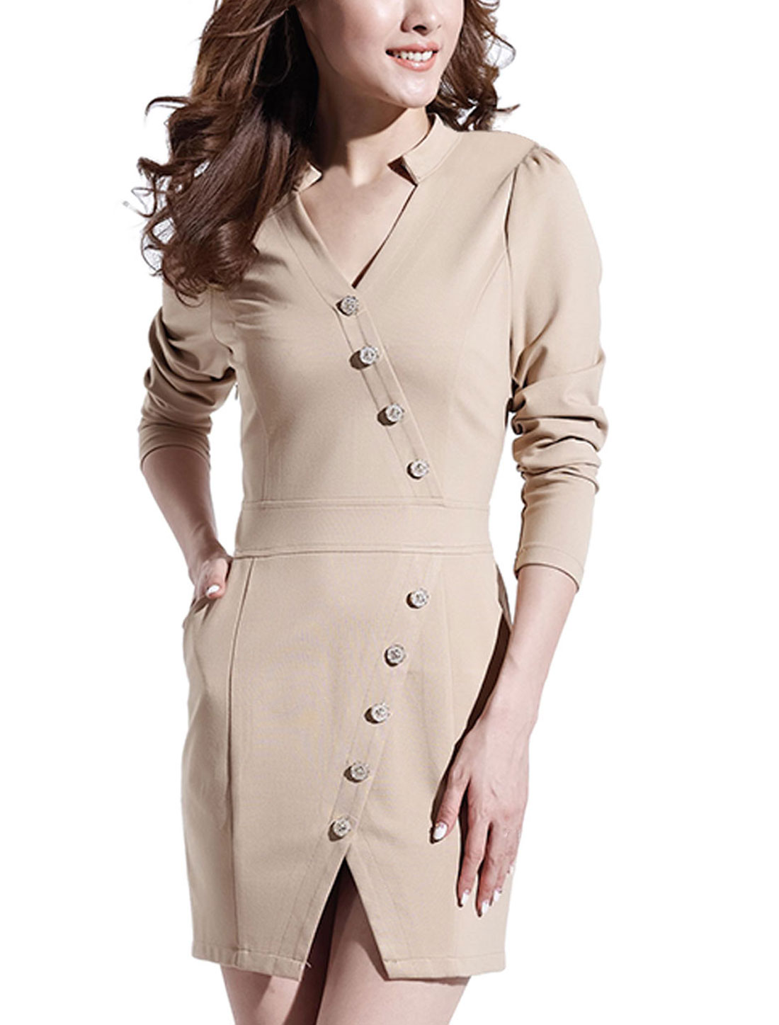 Women Double Pockets Front Mandarin Collar Sheath Dress Beige L