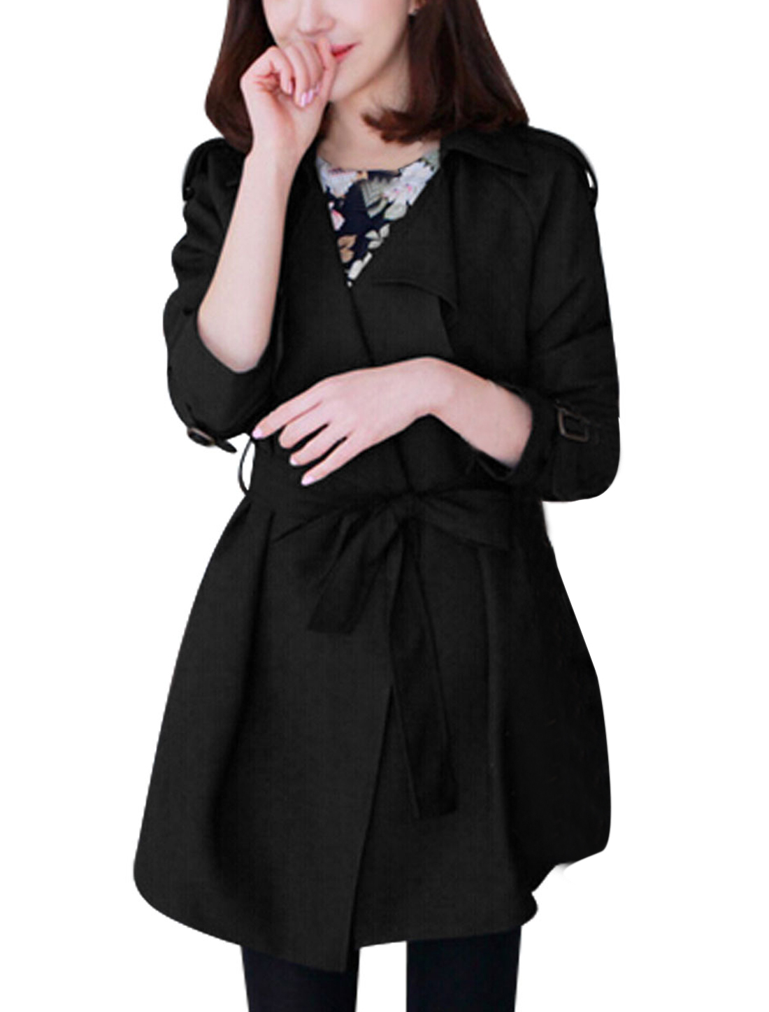 Ladies Black Buttonless Cape Style Adjustable Buckle Strap Cuffs Trench Coat M