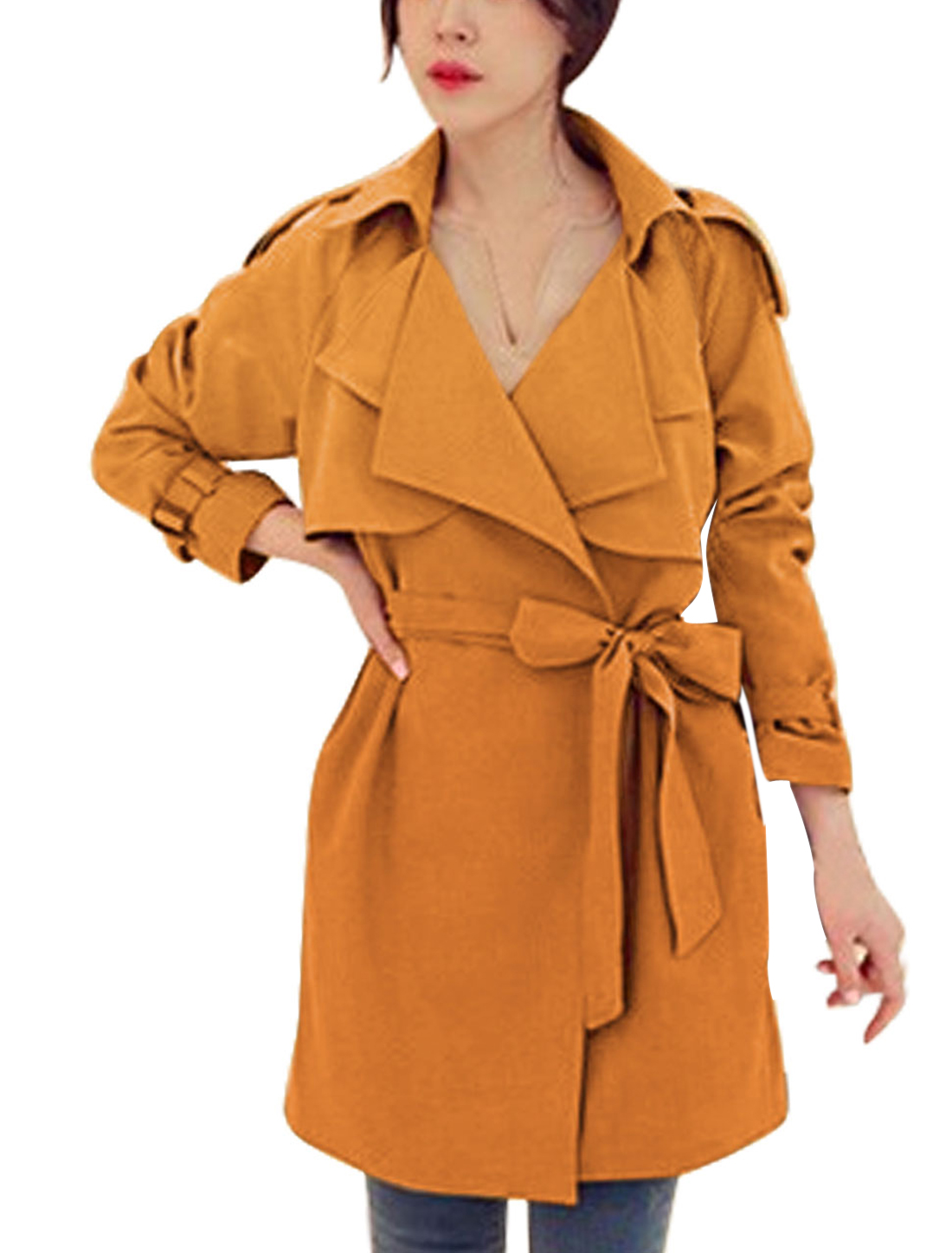 Ladies Orange Buttonless Cape Style Self Tie Strap Leisure Trench Coat M