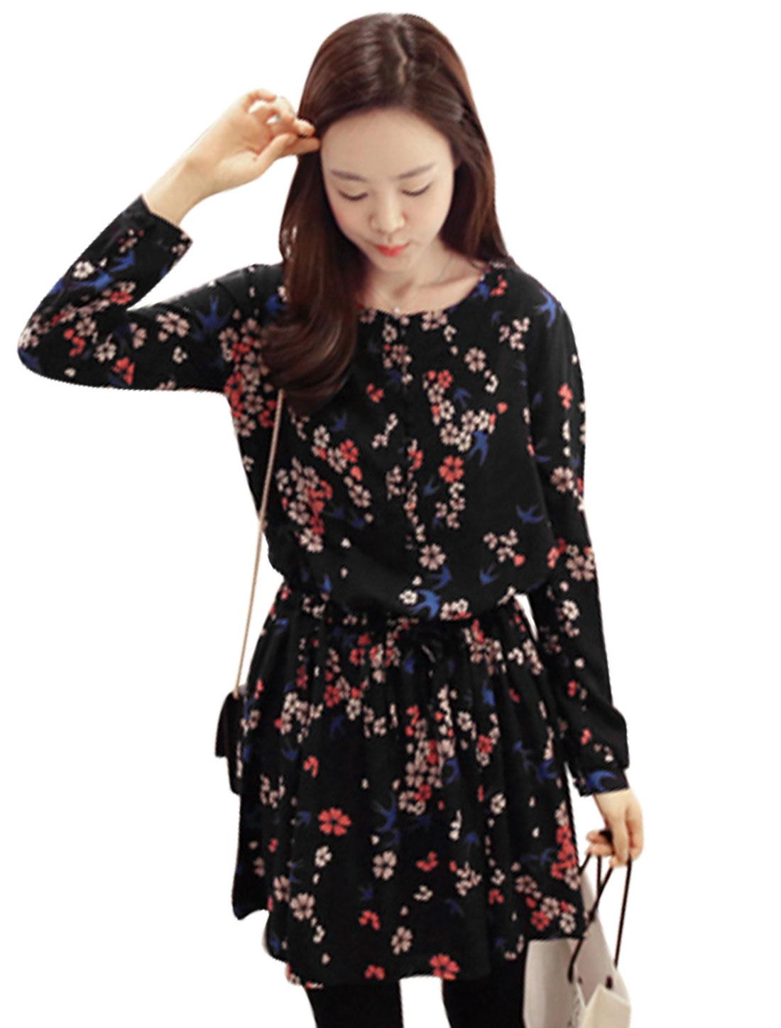 Ladies Navy Blue Pullover Floral Prints Waist String Elastic Loop Closure Dress S