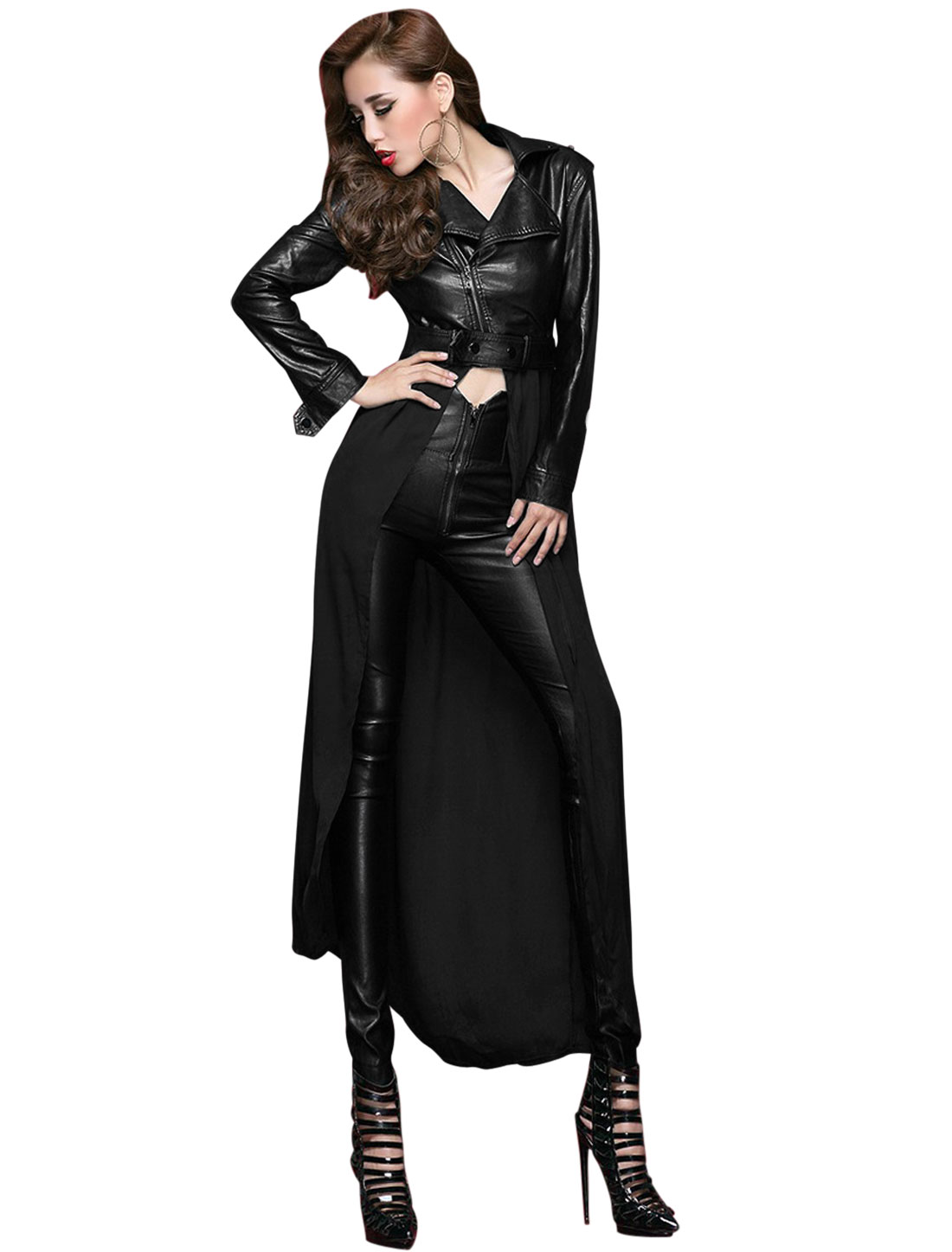 Women Black Zip Fly Splice Buckle Decor Button Cuffs Leisure Biker Coat M