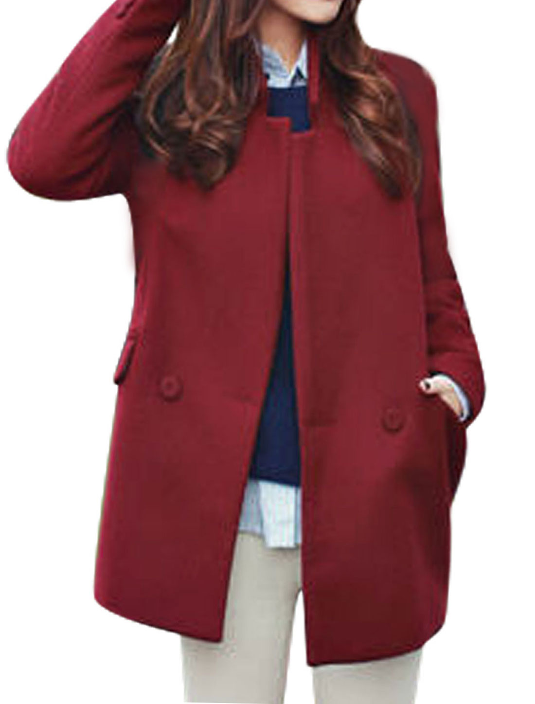 Ladies Burgundy Button Closure Front Pockets Split Back Casaul Worsted Coat M