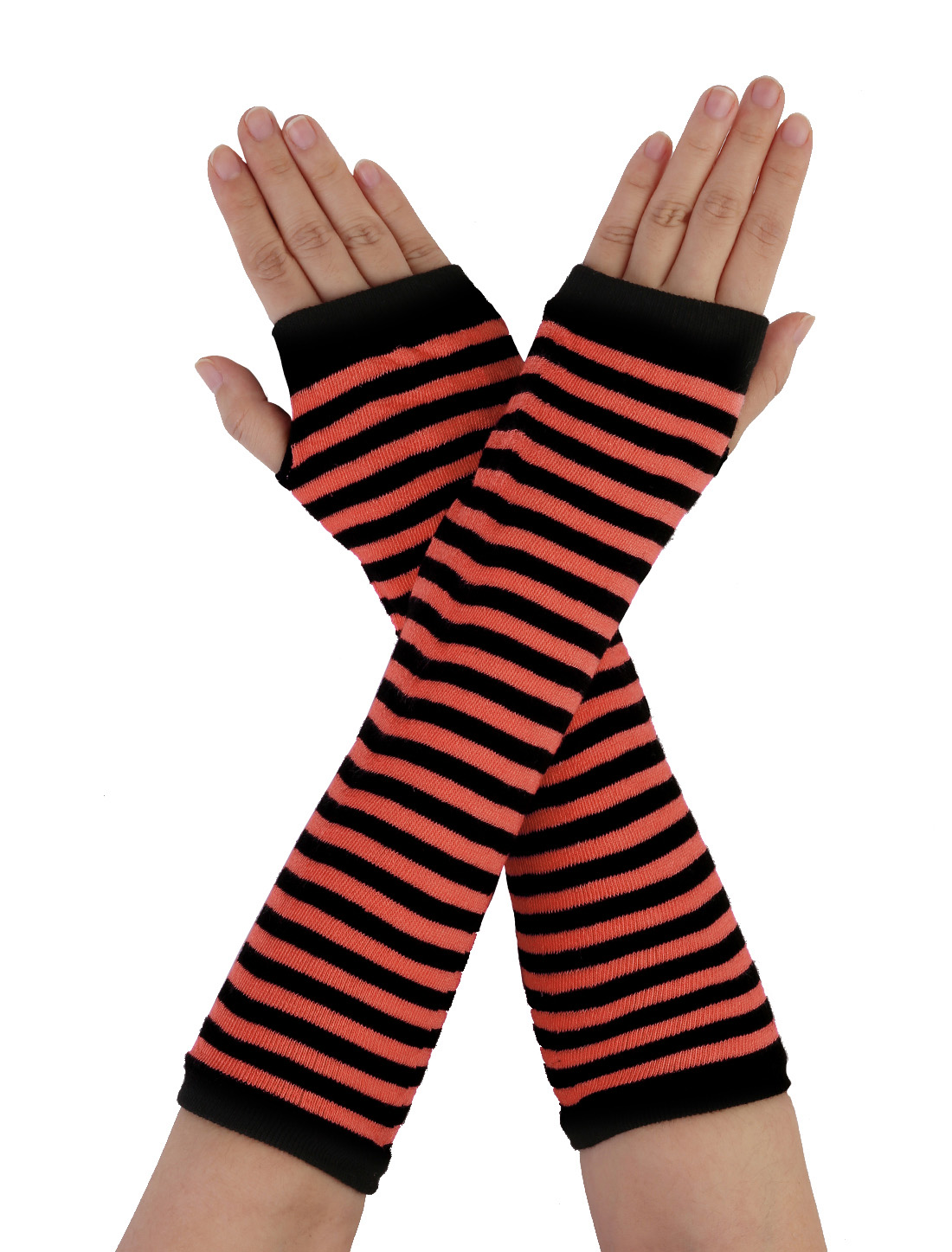 Women Black Red Stripe Pattern Elbow Length Fingerless Arm Warmers Gloves Pair