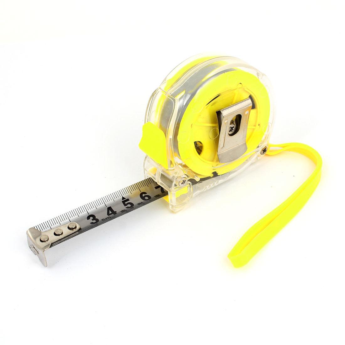 Clear Yellow Plastic Housing Retractable Metric Ruler Range Measuring Measure Tape 5M